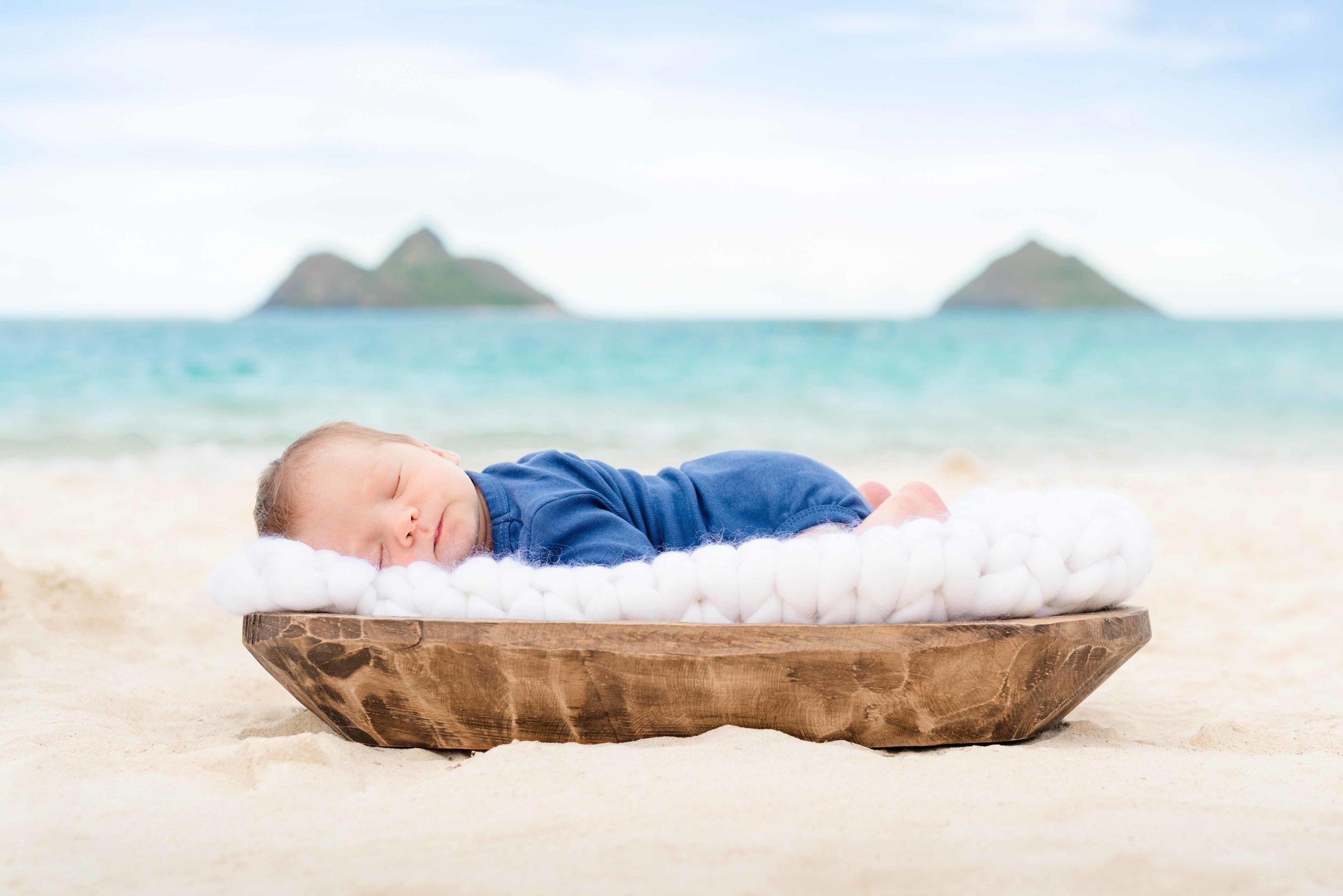 Oahu Newborn Photographer | newborn baby boy on Lanikai Beach