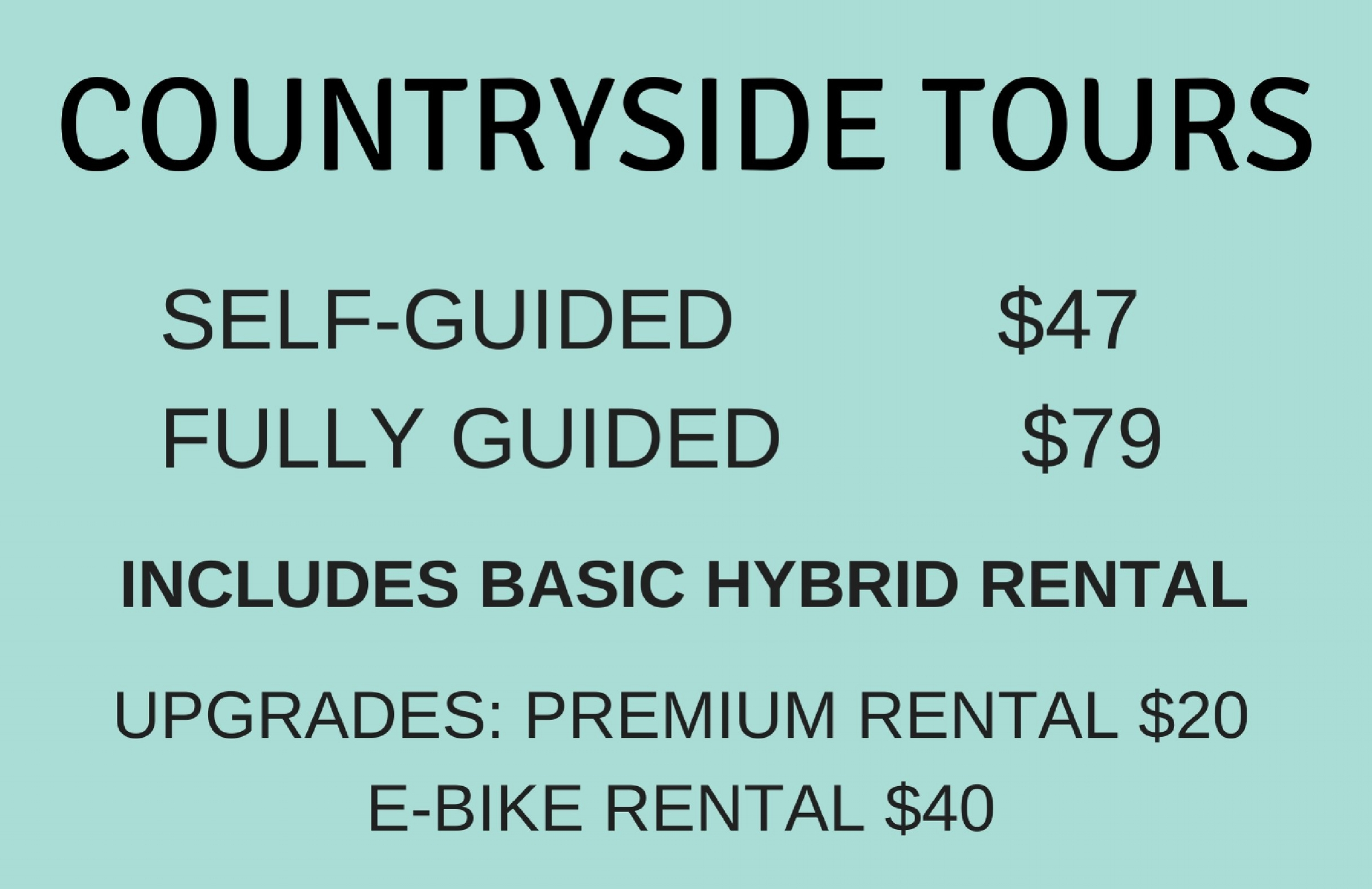 All Self-Guided Tours include: Basic Hybrid Bicycle rental for 4 hours, a helmet, on-call roadside assistance, a patch kit and printed maps with route options and points of interests.