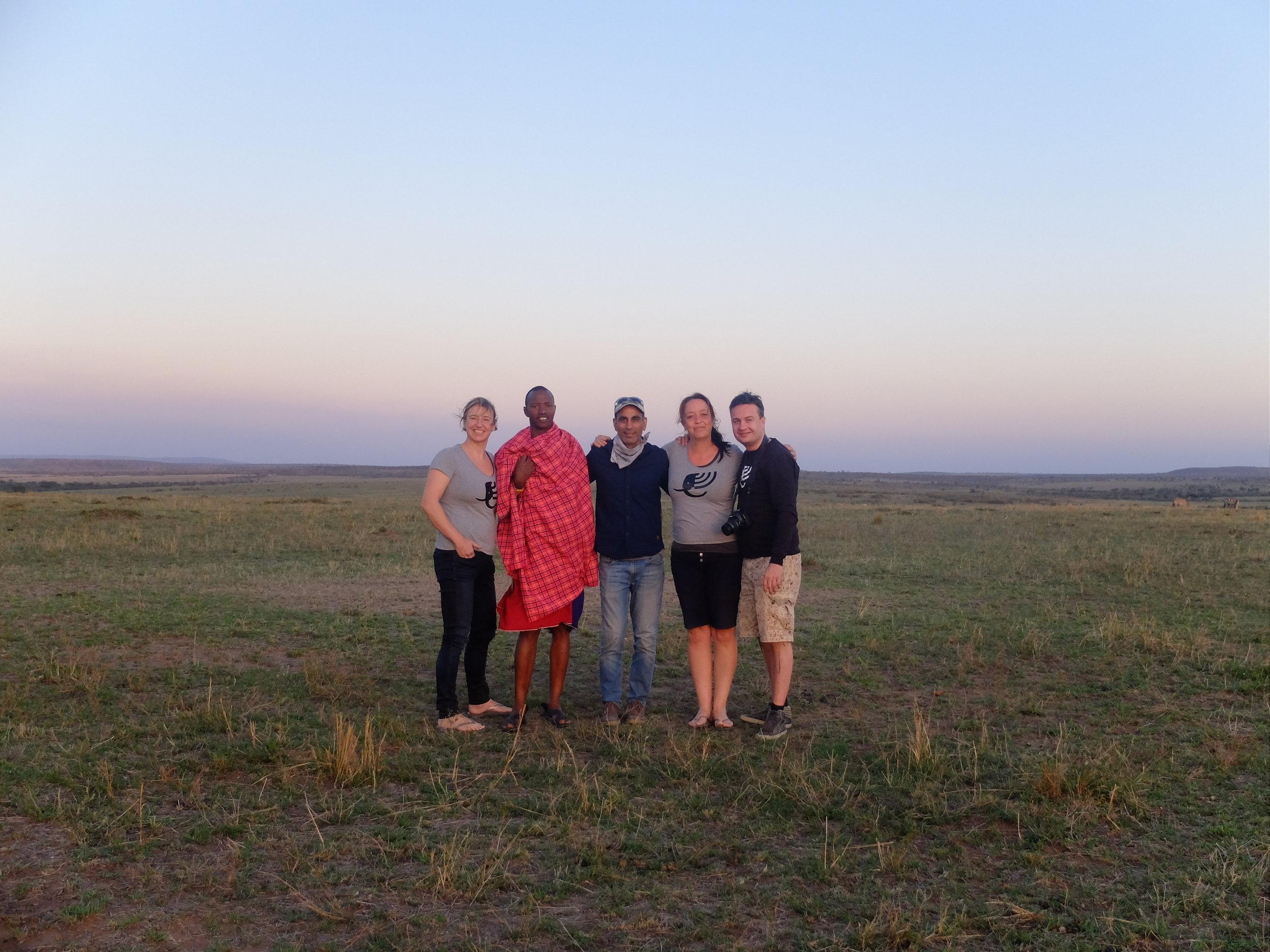Ellis, Gautam, Lianne & Michiel in the Maasai Mara in Kenya