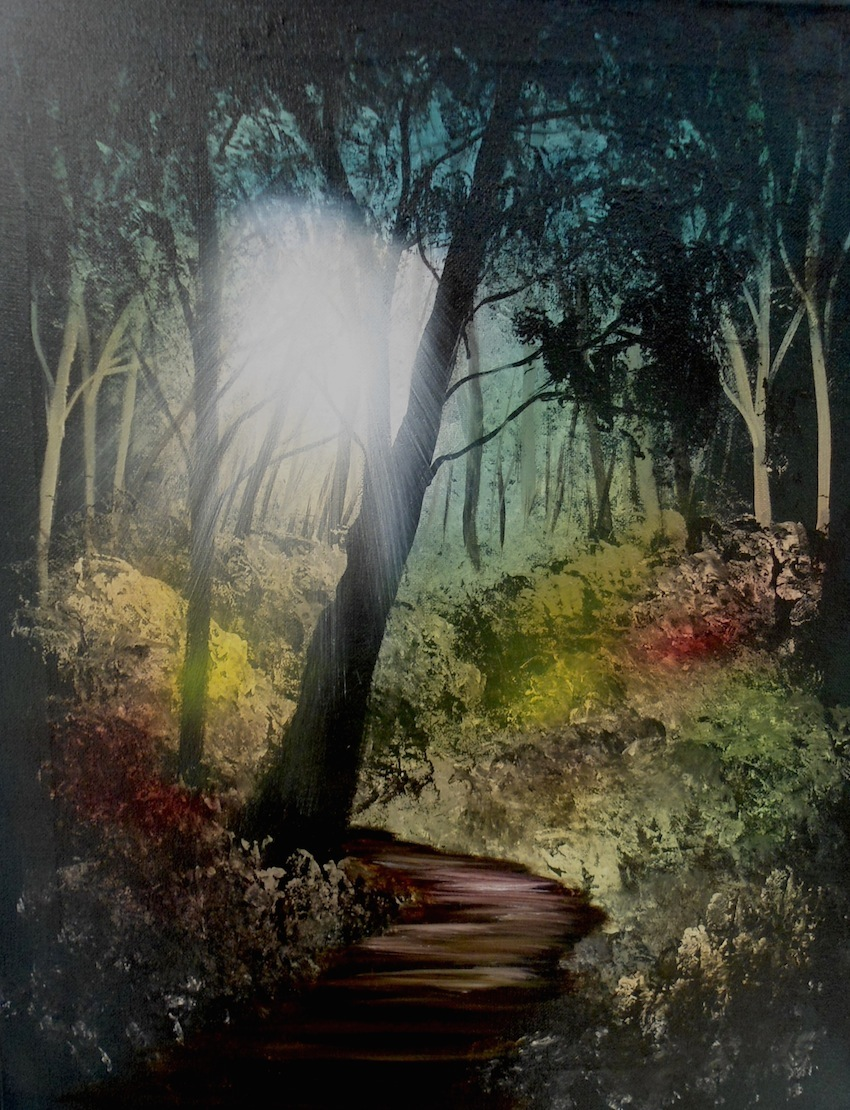 FOREST IN ACRYLIC AND OILS