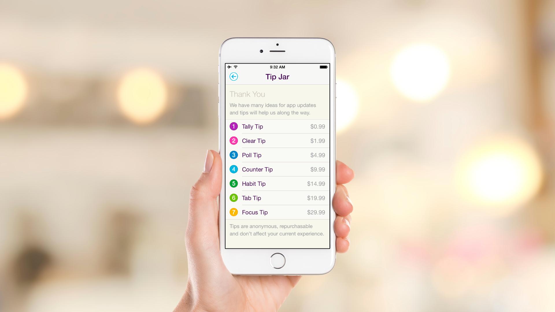 iOS App – About – Tip Jar