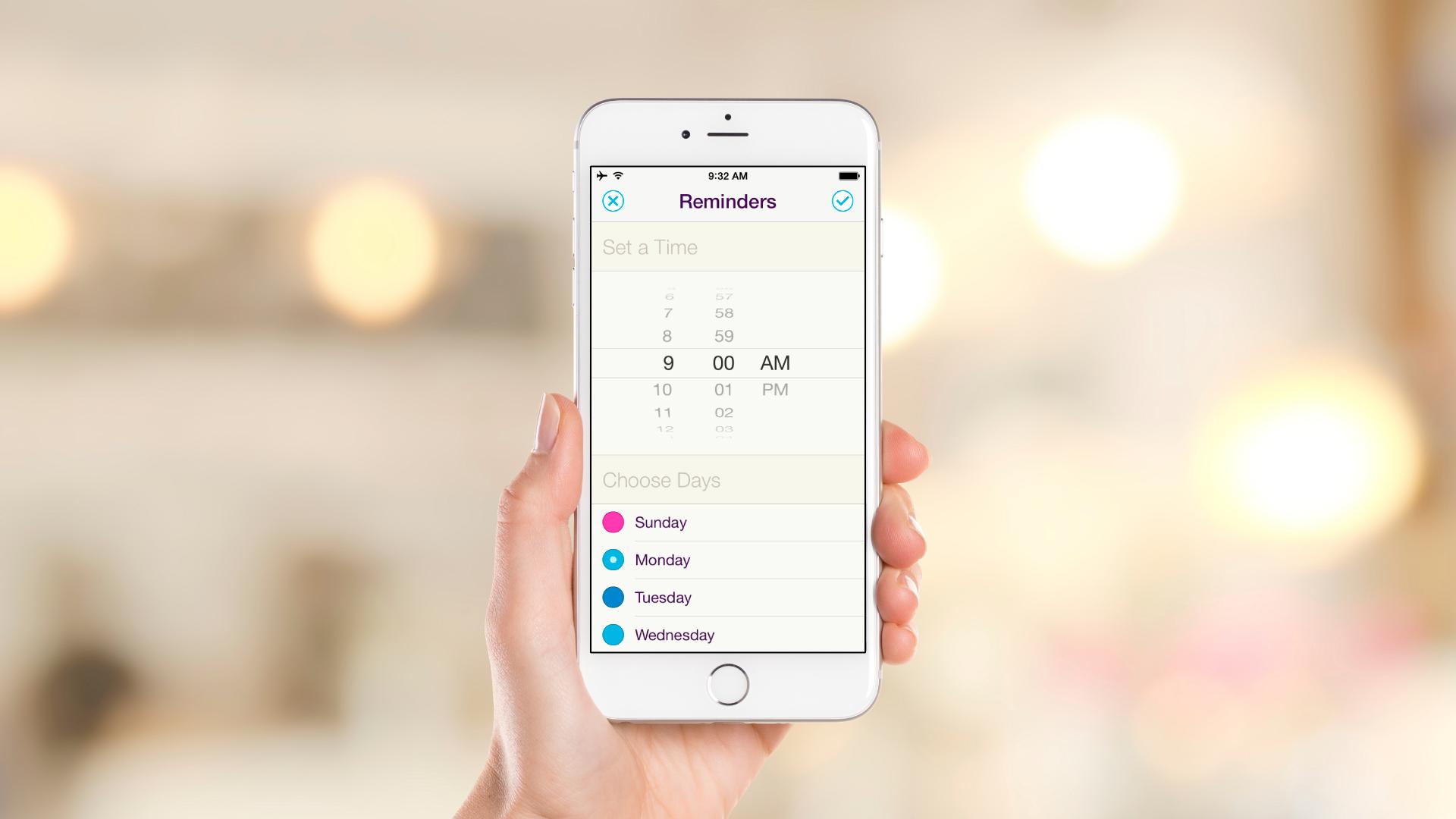 iOS App – Settings – Reminders