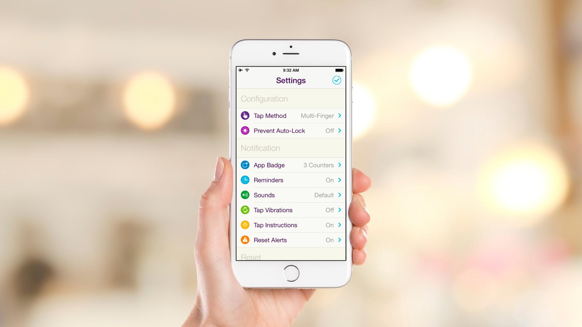 iOS App – Settings