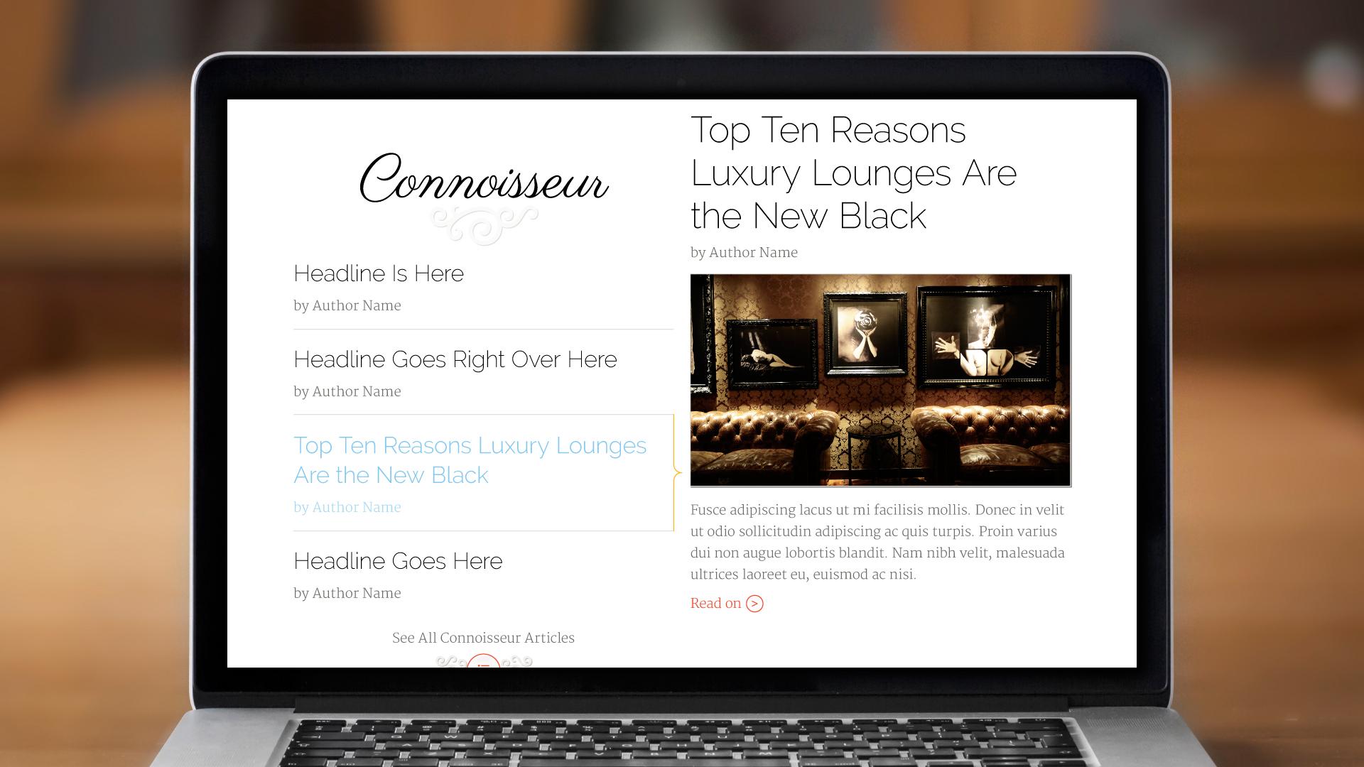 Web – Homepage (Connoisseur)