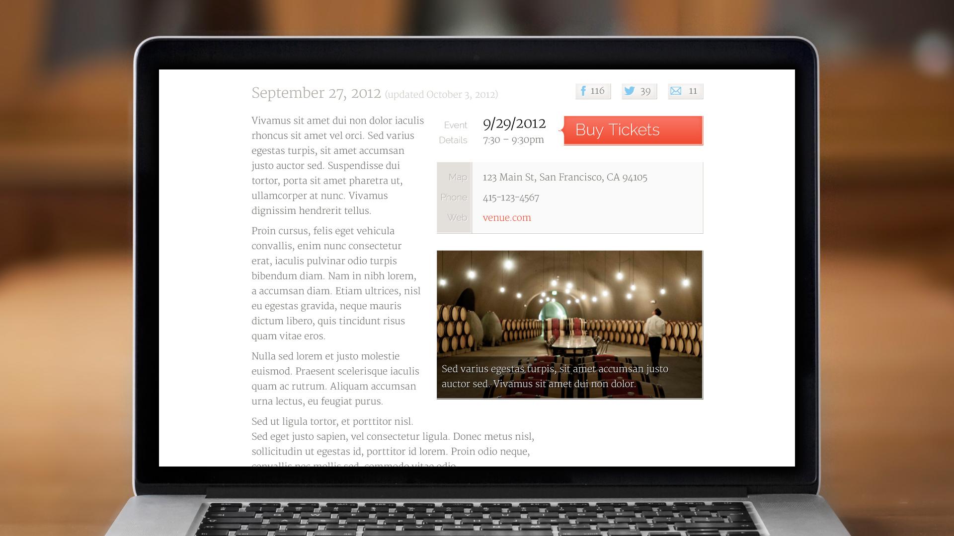 Web – Calendar Event Page