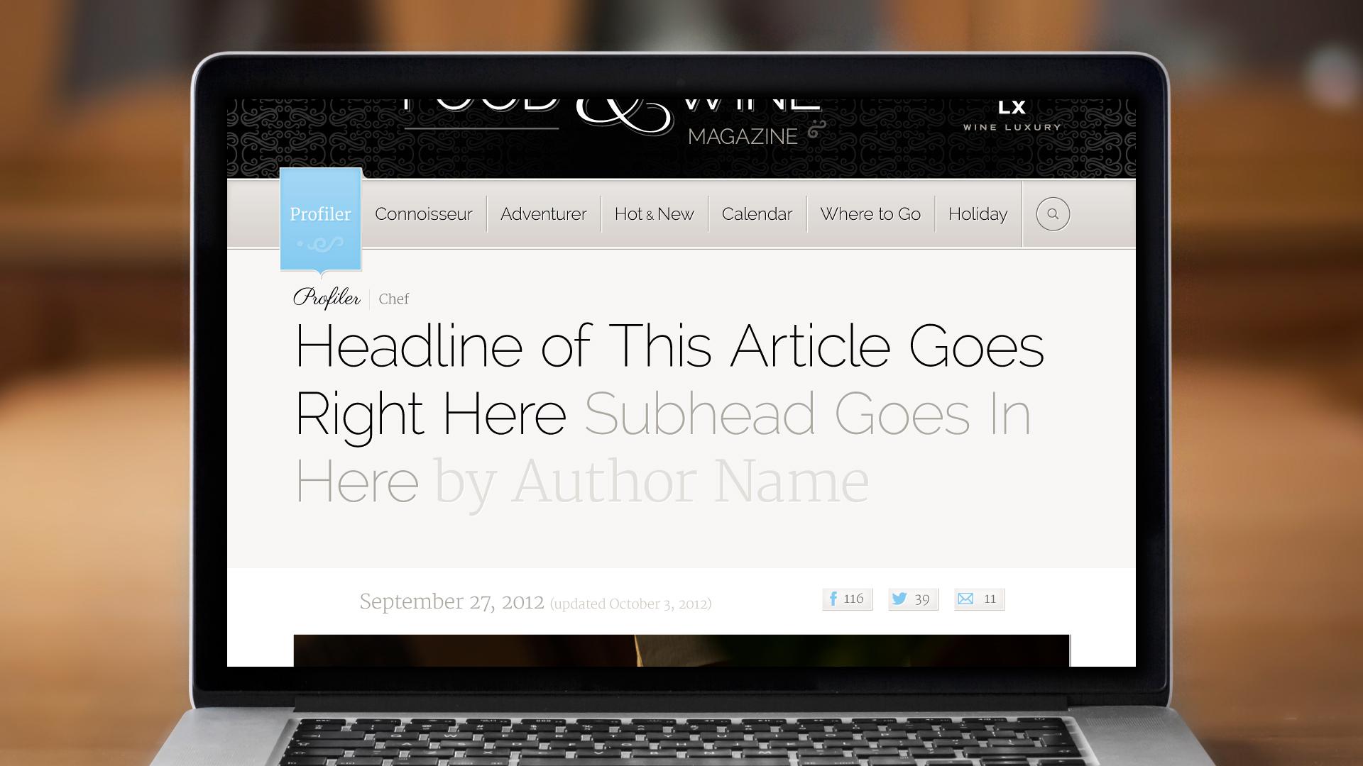 Web – Profiler Article Page