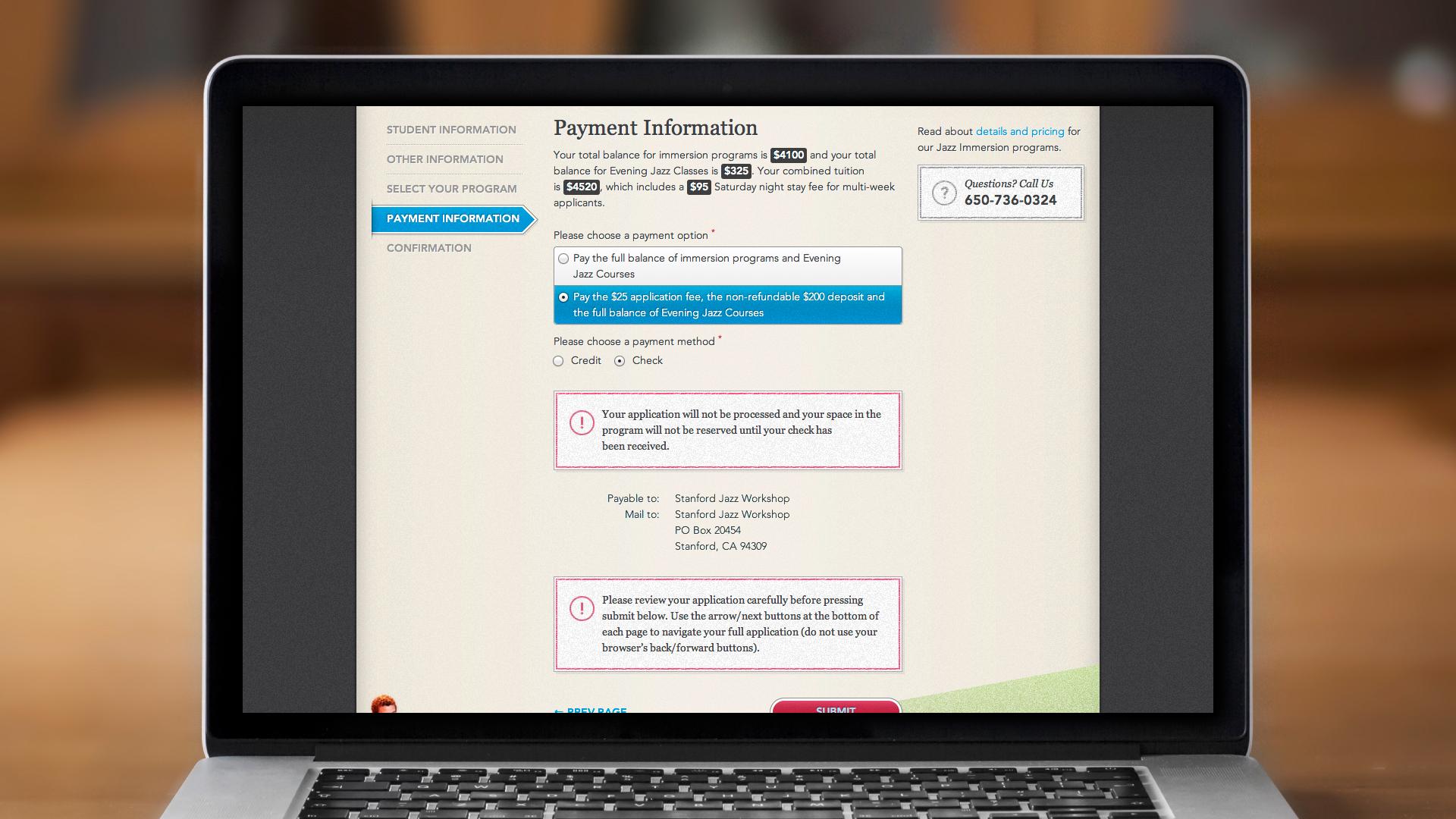 Web – Registration – Step 4, Payment Information (for Checks)