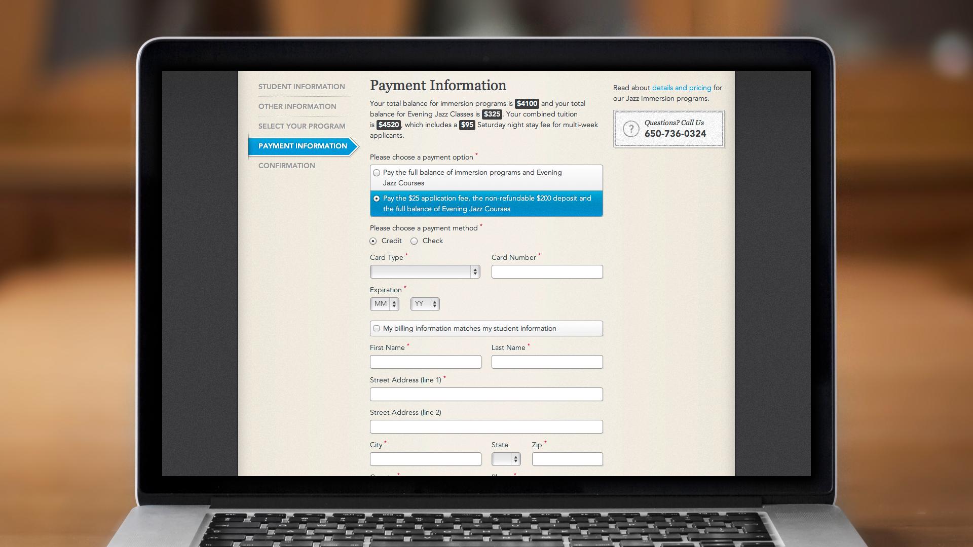 Web – Registration – Step 4, Payment Information (for Credit Cards)