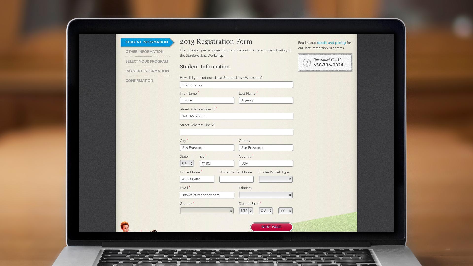 Web – Registration – Step 1, Student Information
