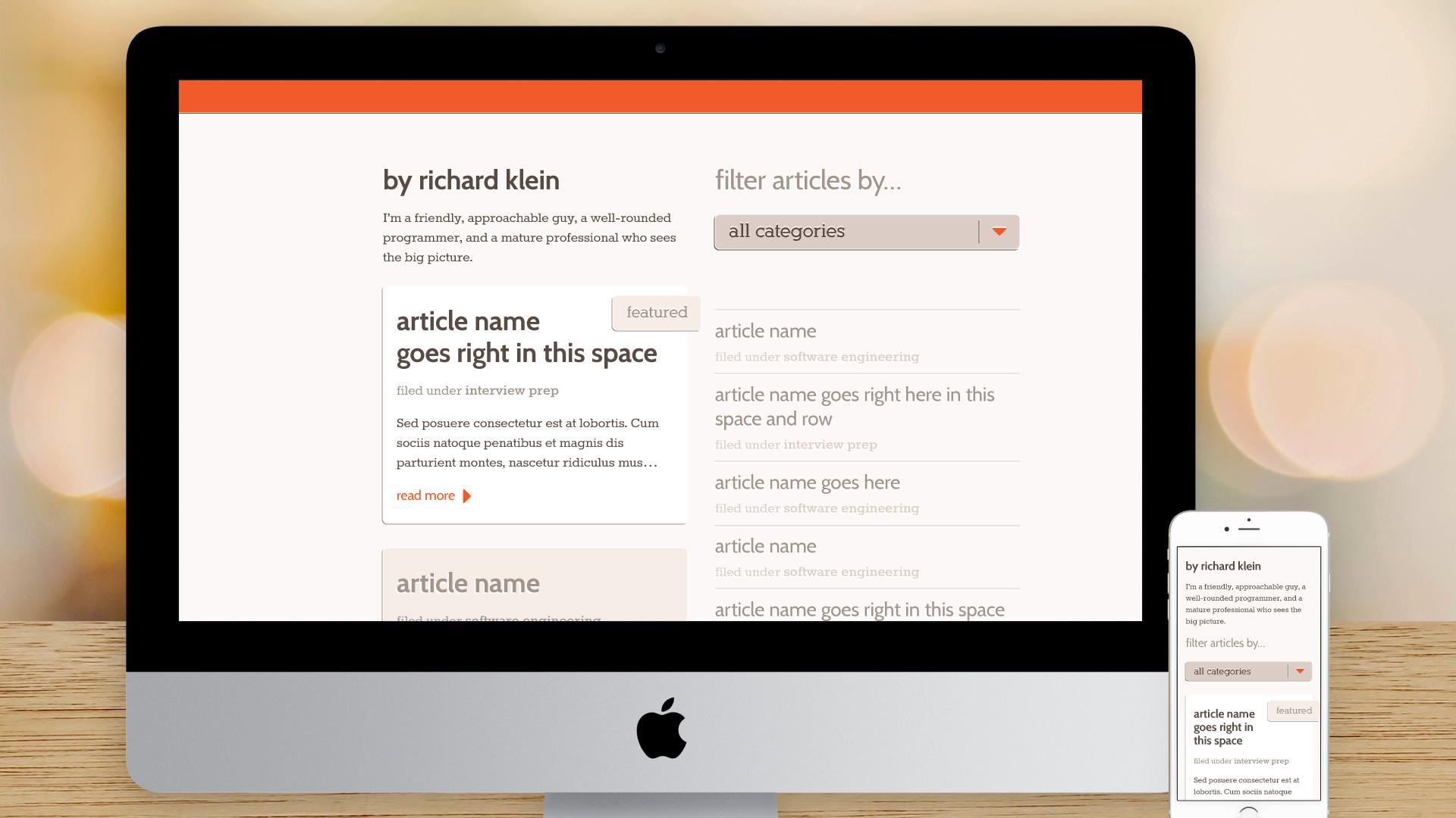 Responsive Website – My Articles (Index)