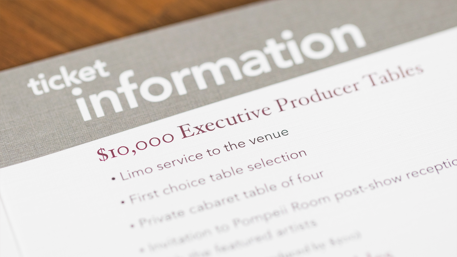 Print – Invitation Packet – Invite Details (Donor Tiers)