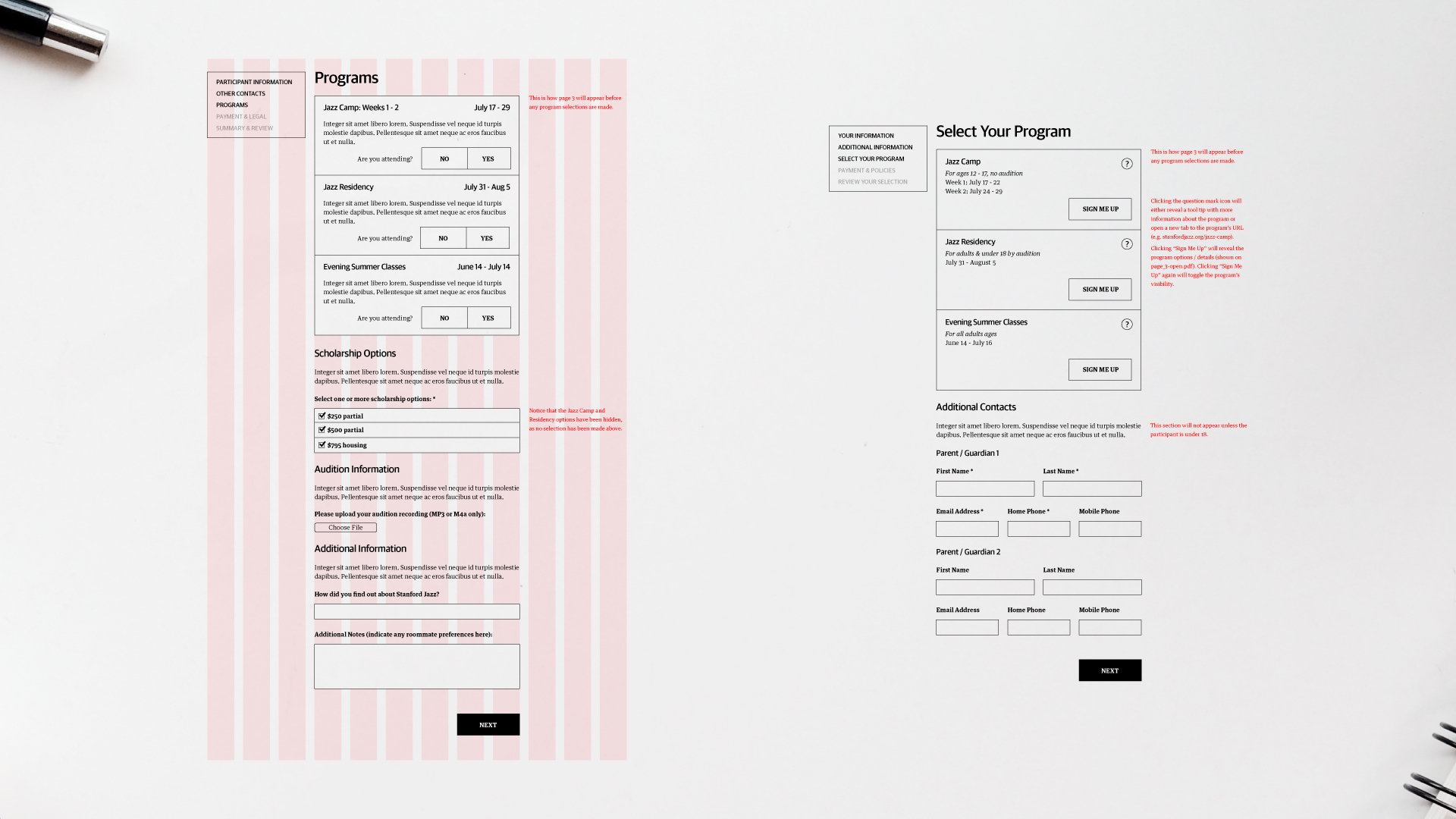 Wireframes for Displaying Programs (a Rejected Option on the Left, the Approved Option on the Right)