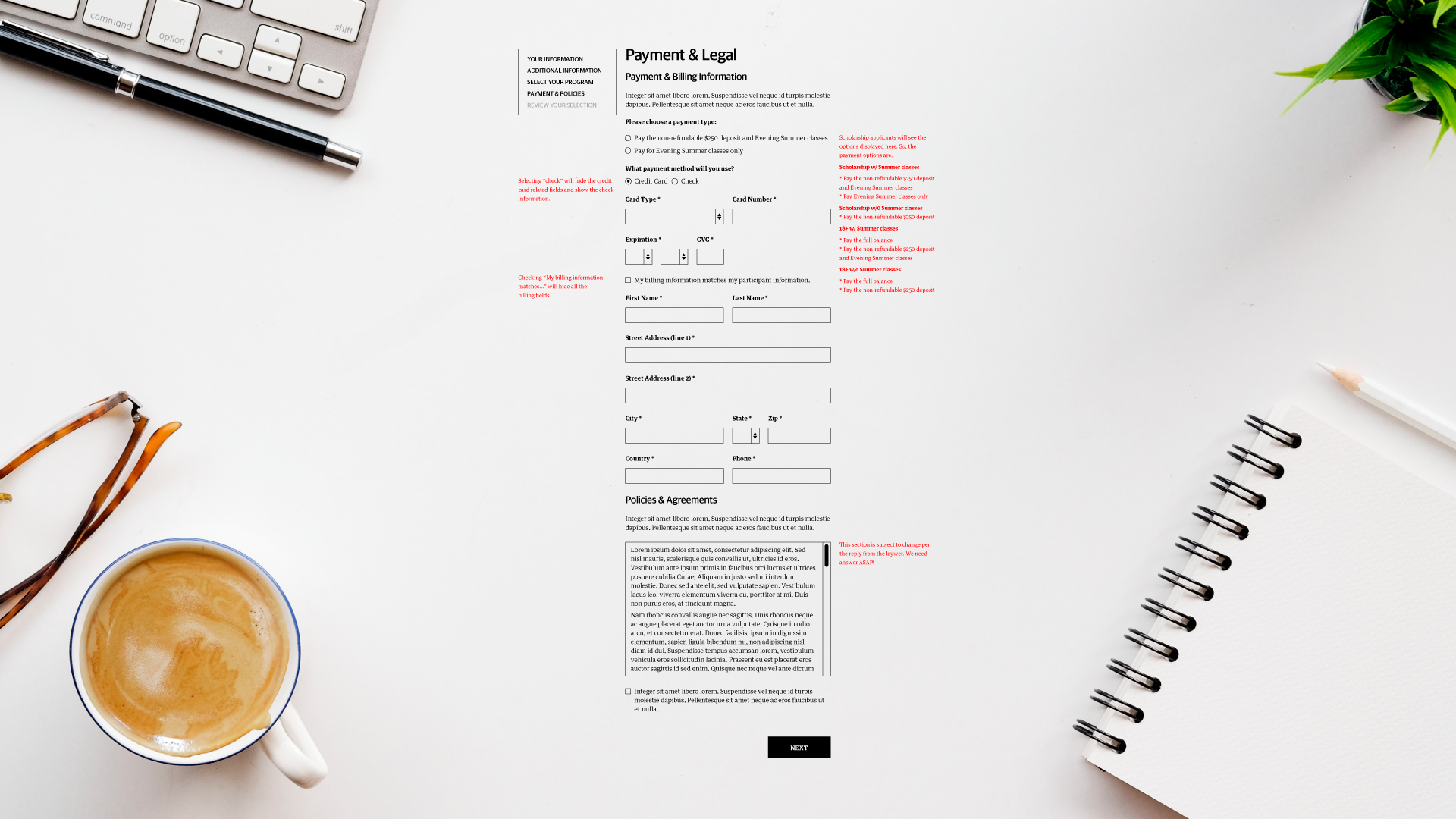 Wireframe for Payment and Legal Terms