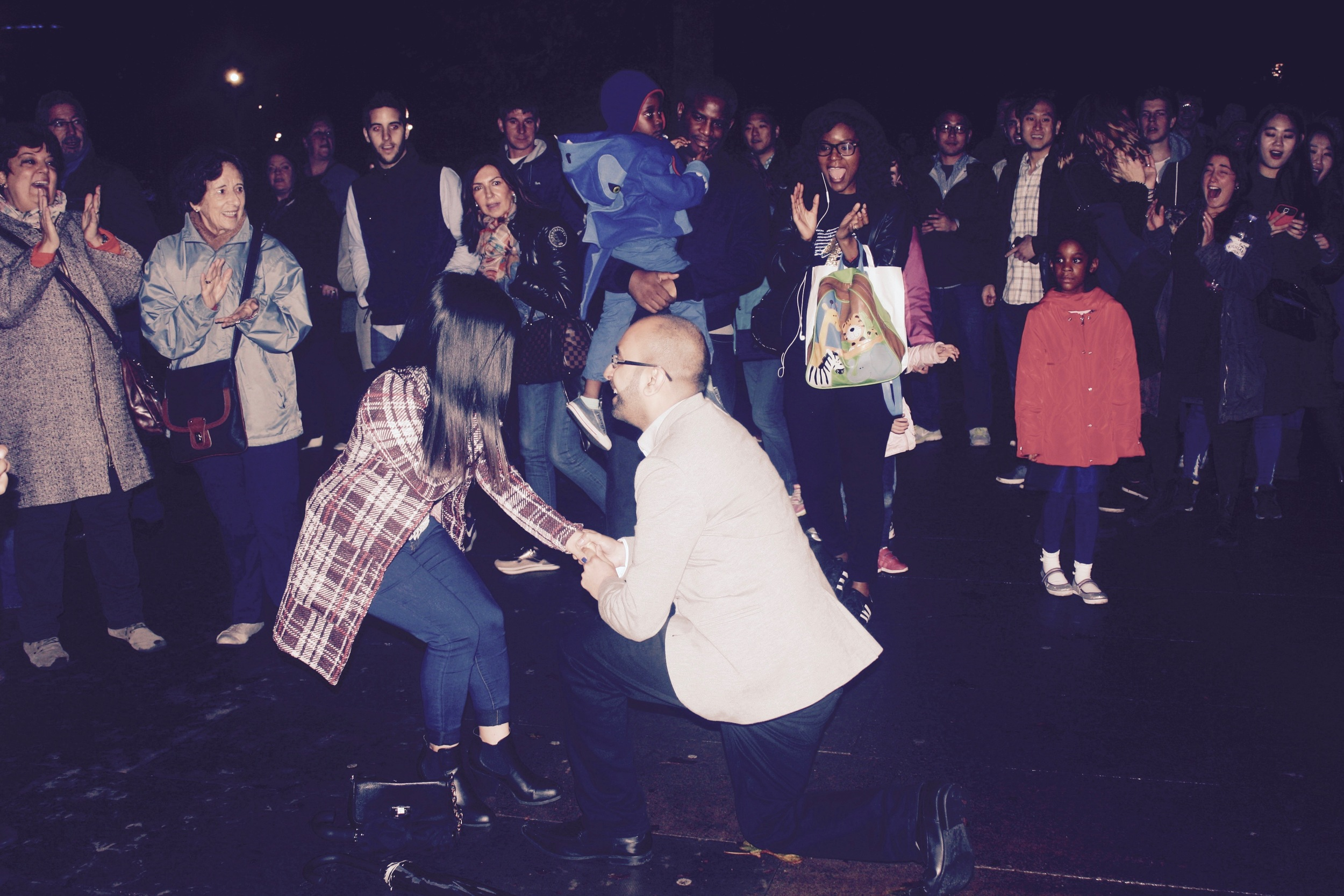 Popping the question after the flash mob!