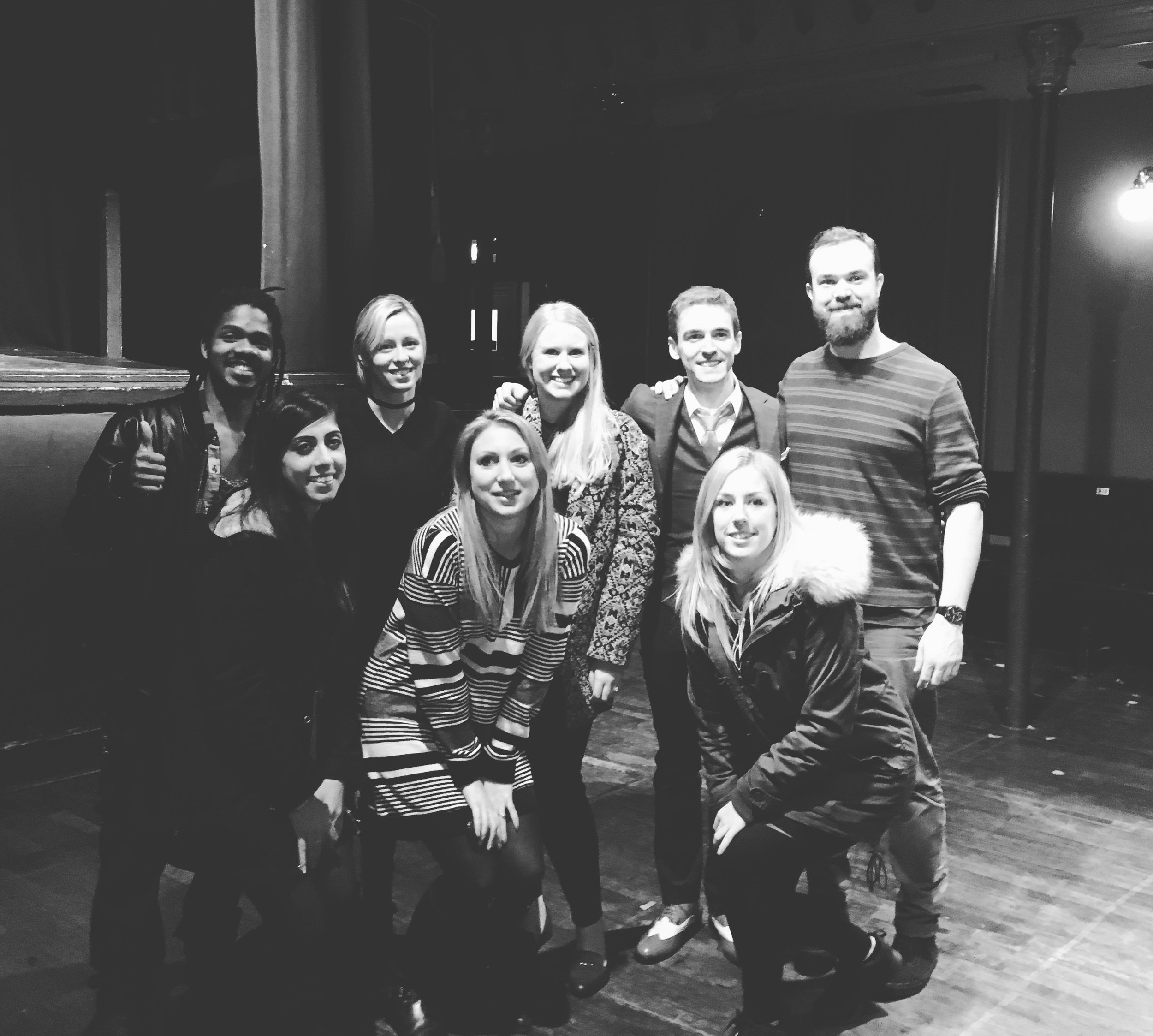 Myself, Patrick, Daisy, Sam and the Proposer's and Hoxton's theatre team after the show