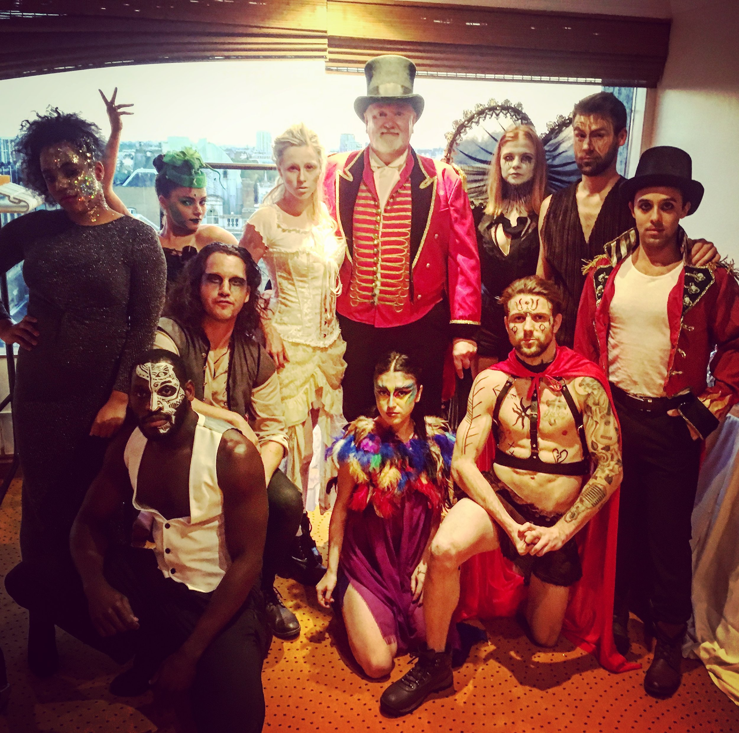 Our circus performers about to flash mob the party with the birthday boy in the middle!