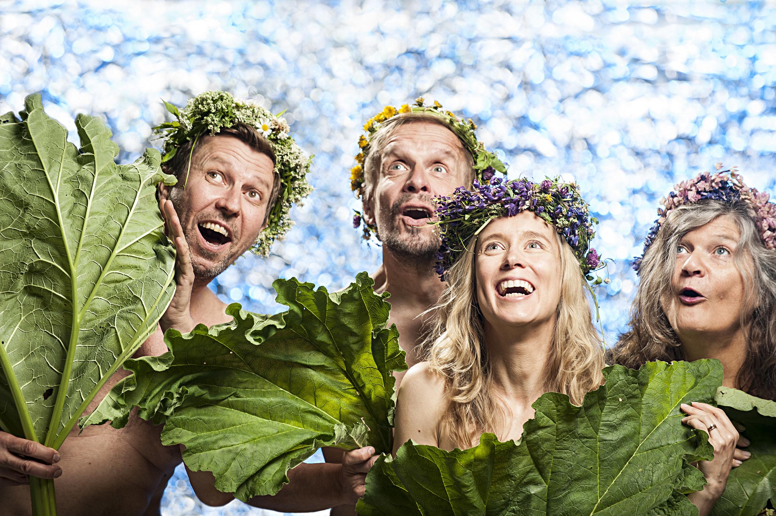 Tohtori raimo - valtakunnan terapeutti, actors Martti Suosalo, Jukka Puotila, Nora Rinneand Erja Manto. Photo: Laura Mainiemi / YLE, 2014.