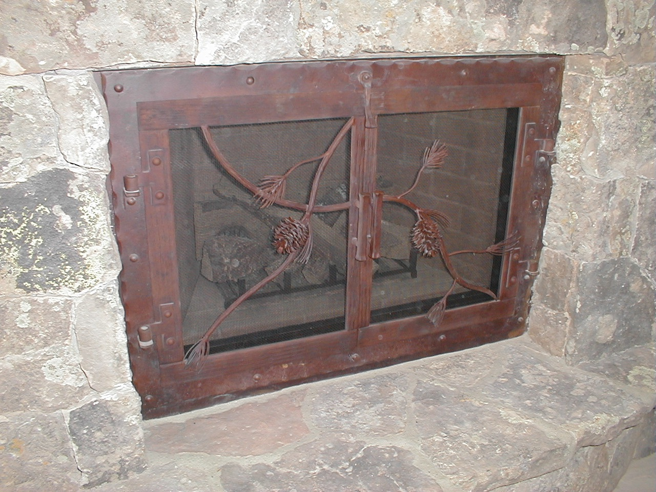 Pine Cone Fireplace Doors