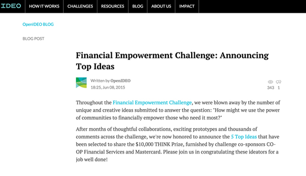 OpenIDEO – Financial Empowerment Challenge: Announcing Top Ideas