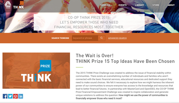 CO-OP Financial Services – THINK Prize 15 Top Ideas Have Been Chosen