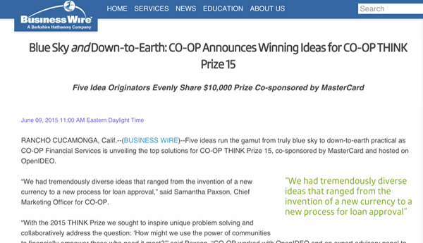 Business Wire – CO-OP Announces Winning Ideas for CO-OP THINK Prize 15