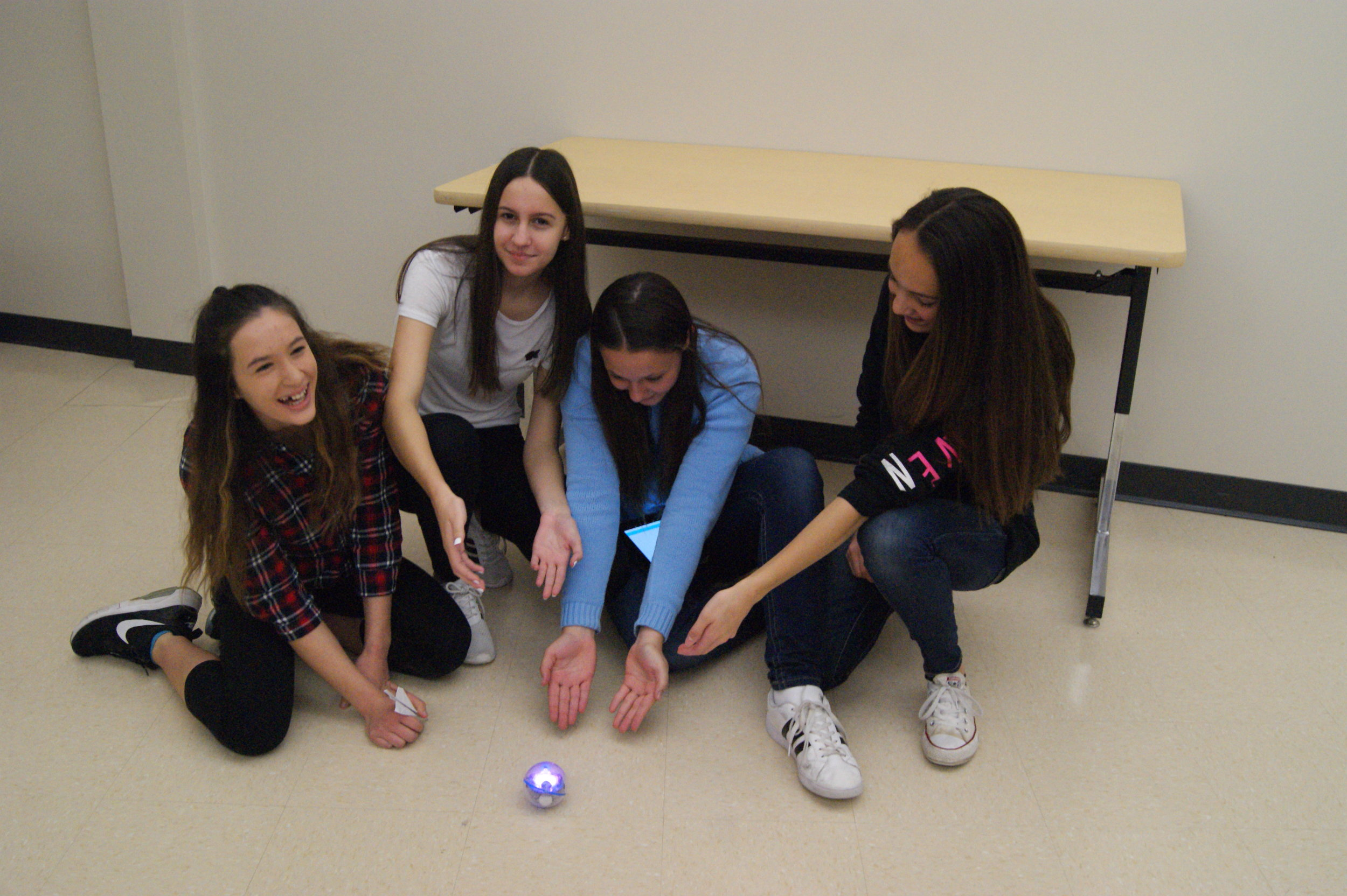 One of the groups that sucsessfuly programed a Sphero at Hour Of Code