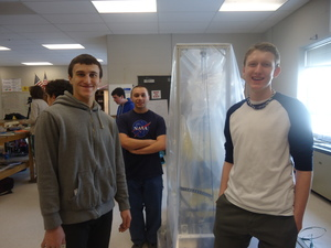 If you read our blog, you would know that on March 3rd, we had freshmen visit the PLTW: Pathway of Engineering, which is what most of our team members are in. These 3 fellas, and many more not photographed, helped explain how taking engineering courses have helped with their FRC experience, while also encouraging them to sign up for the team next year!