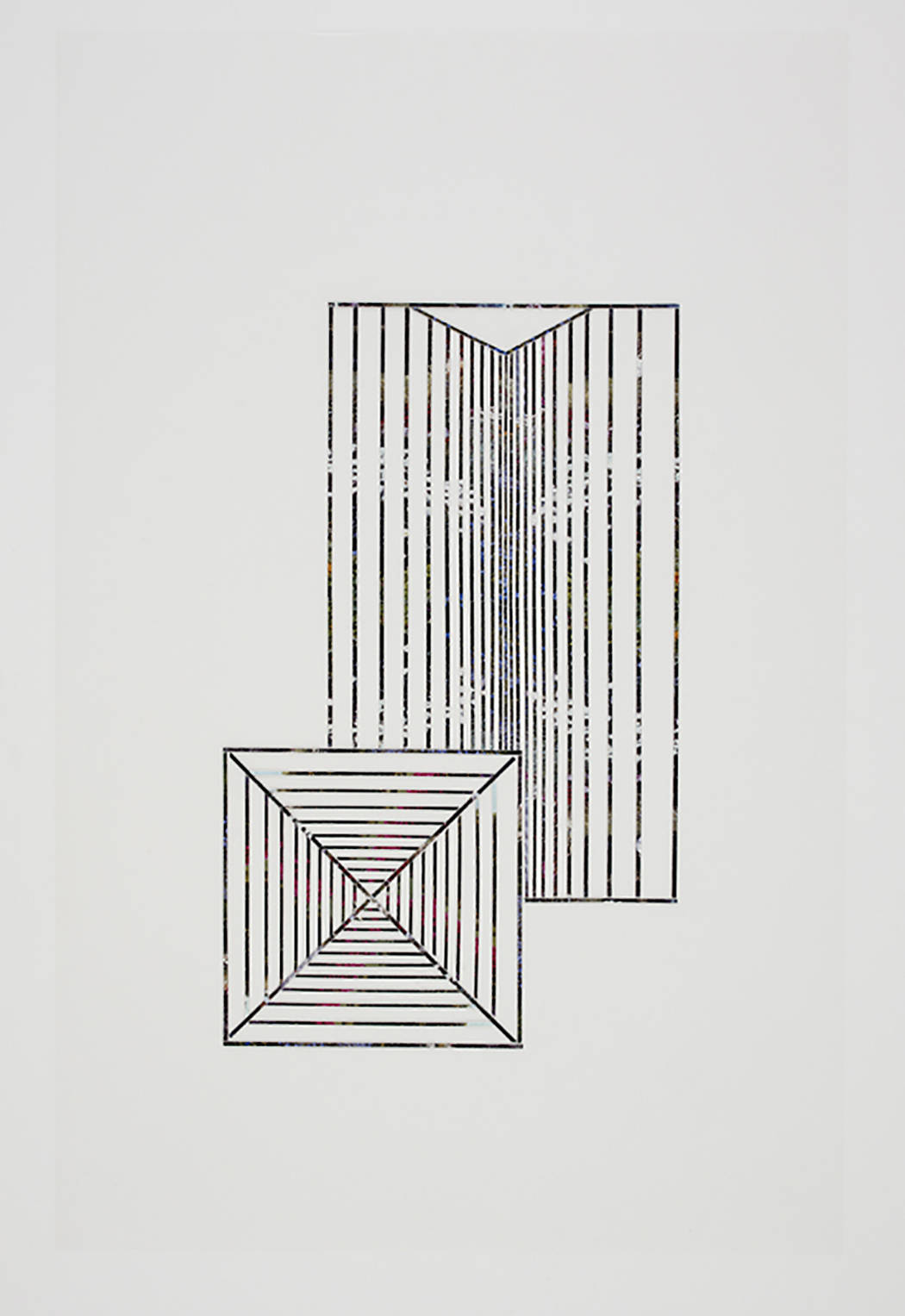 Roof #6, 2010, collage on drafting film paper, 34 x 22 inches/ 86 x 56 cm