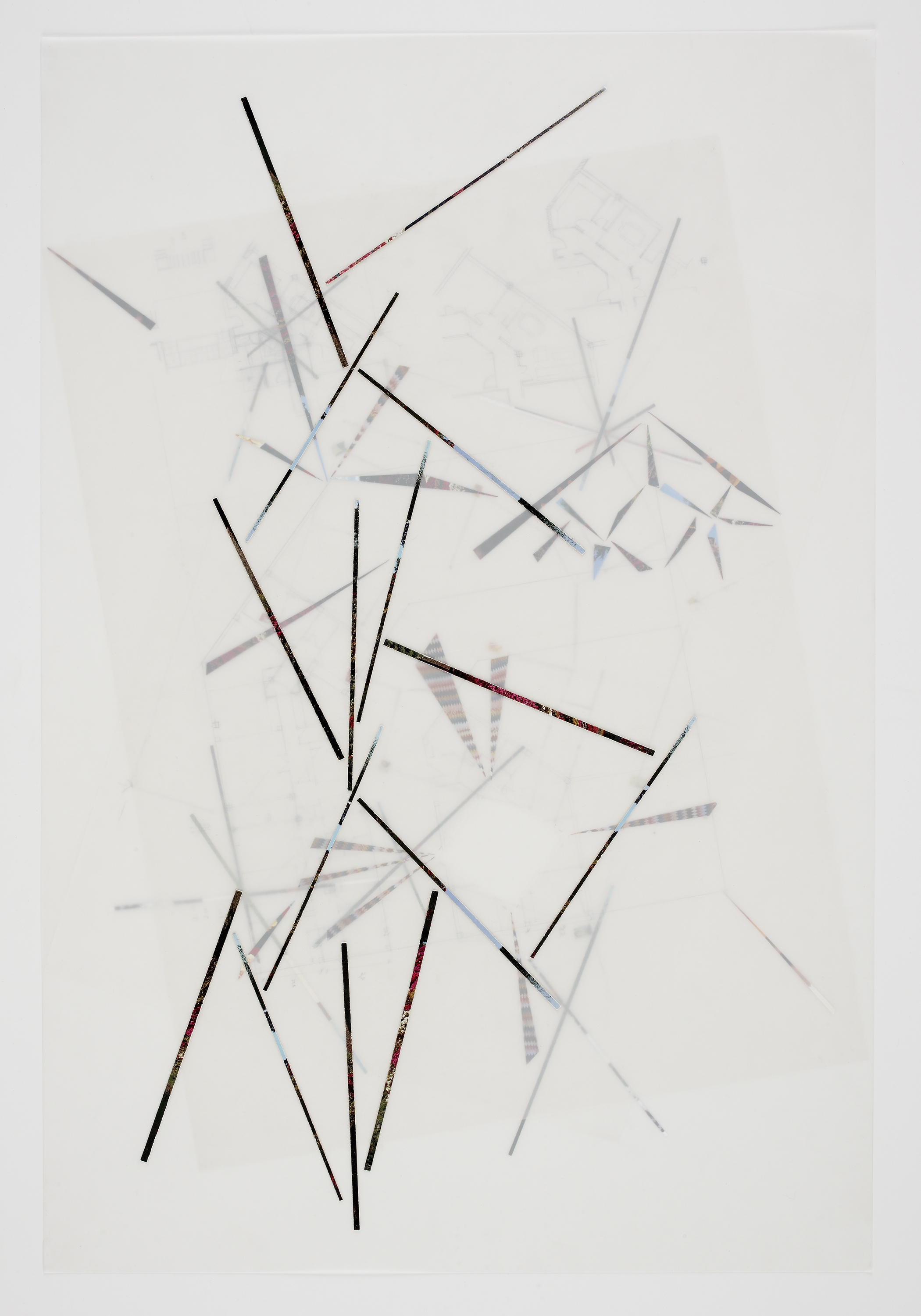 Untitled, 2010, collage and pencil on mylar and tracing paper, 34 x 22 inches/ 86 x 56 cm