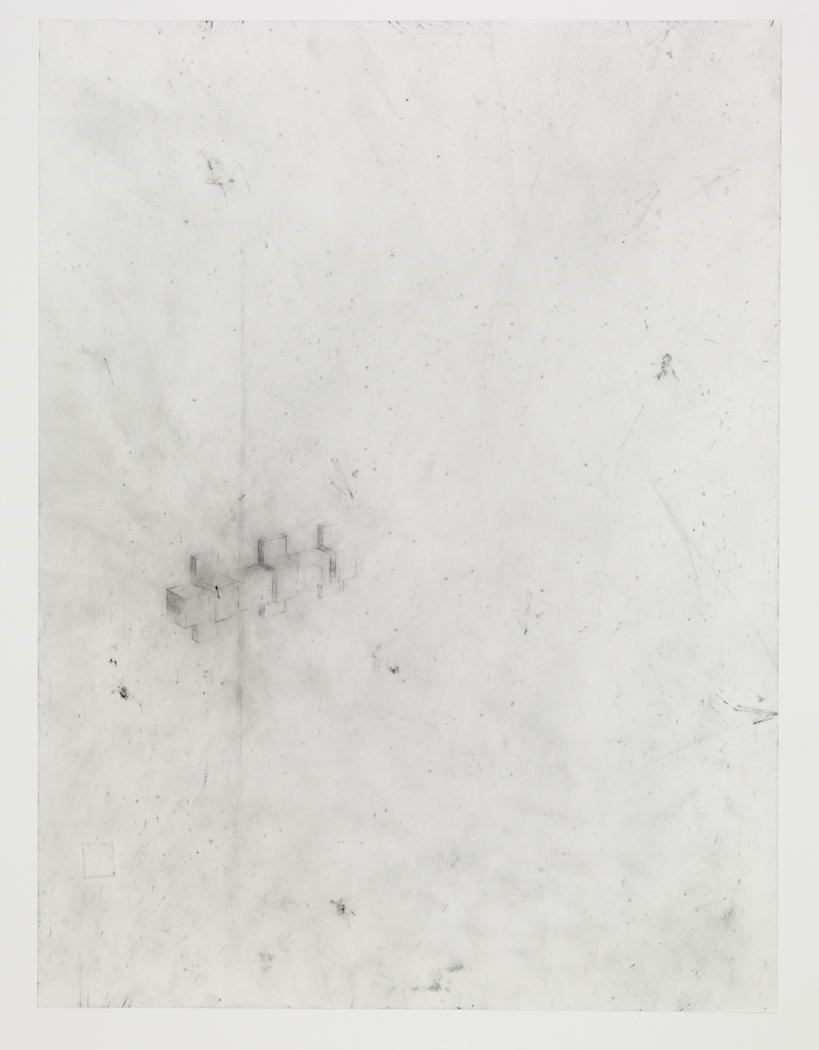 Door Lock, 2009, pencil on drafting film paper, 18 x 24 inches/ 45,5 x 61 cm