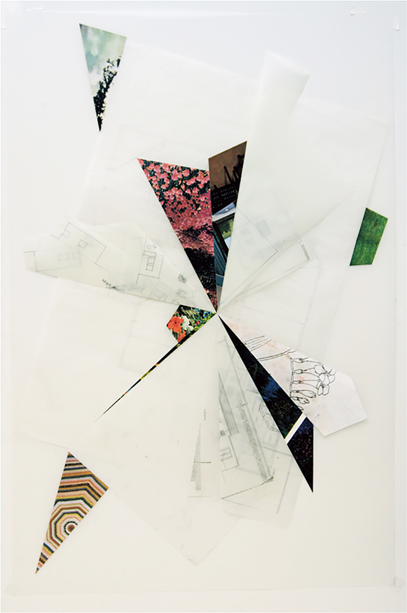 Untitled, 2010, pencil and collage on tracing paper, 34 x 22 inches/ 86 x 56 cm