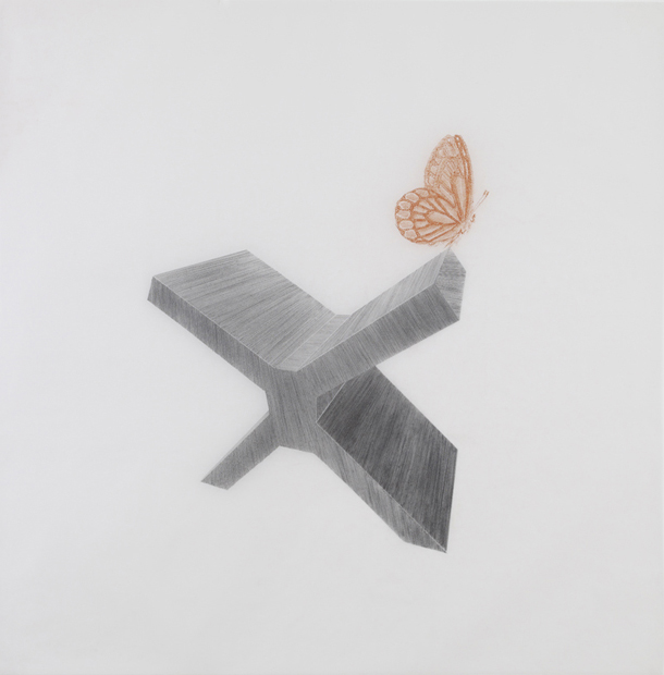 David Smith , 2010, pencil and sanguine on tracing paper, 41 x 41 inches/ 104 x 104 cm