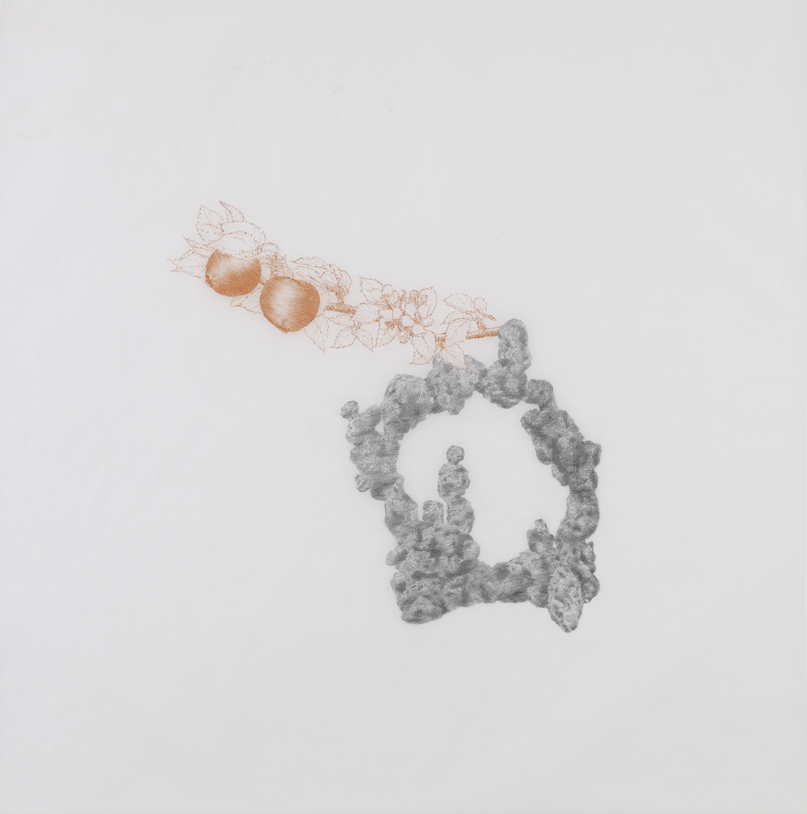 Lucio Fontana, 2010, pencil and sanguine on tracing paper, 41 x 41 inches/ 104 x 104 cm