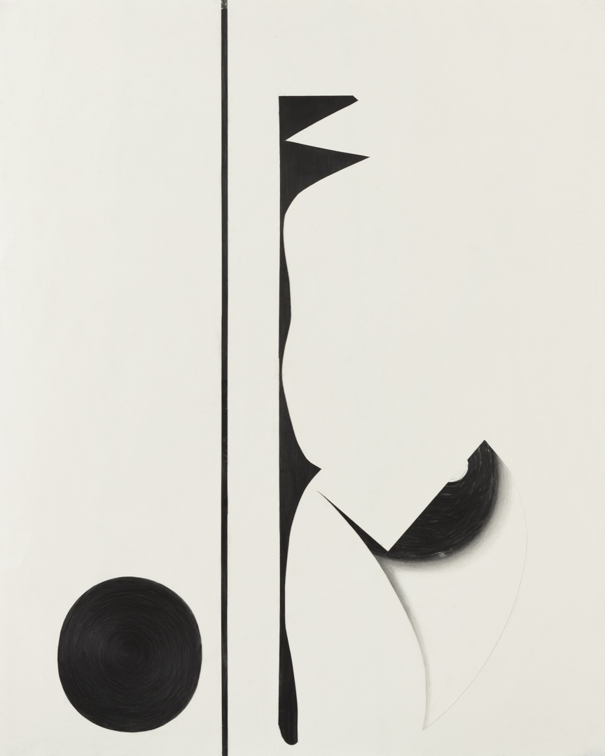 Sticks and Stones # A , 2014, graphite on cut and collaged paper, 51 x 47 inches