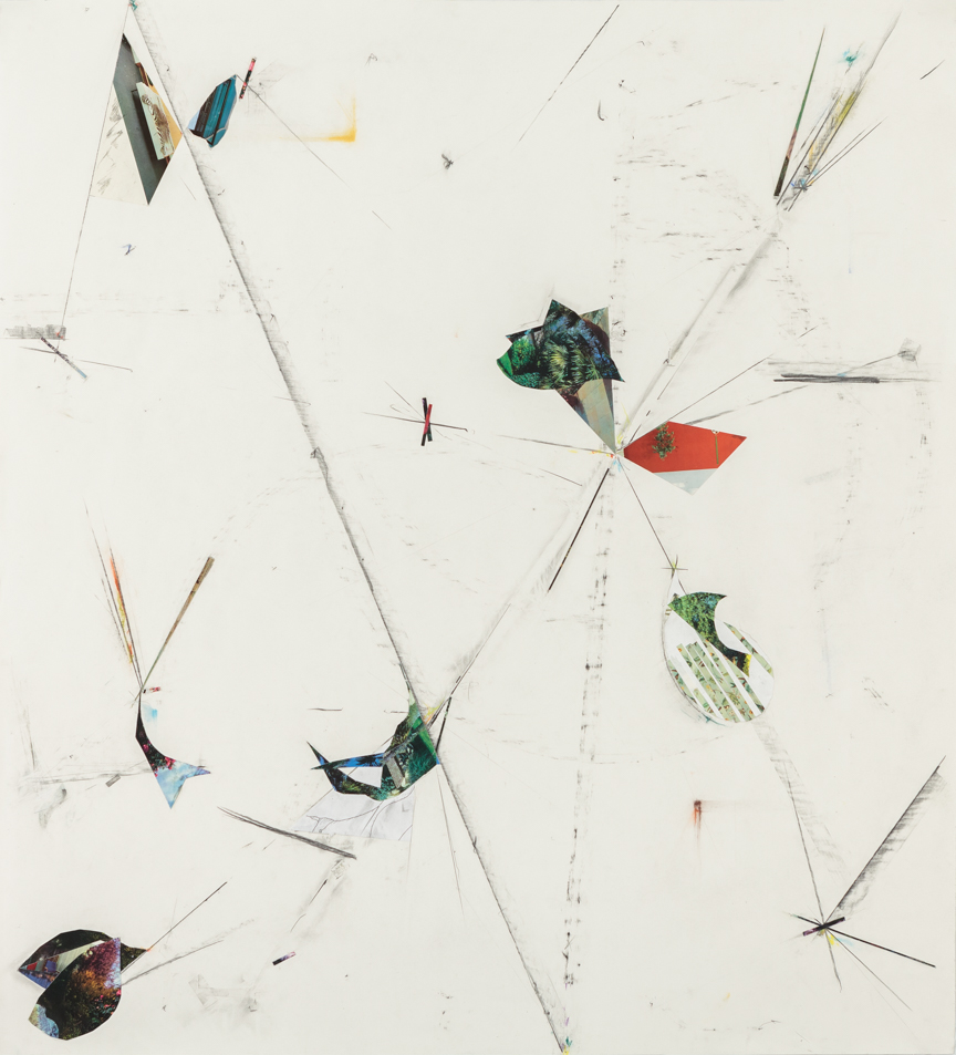 Untitled, 2013, pencil, collage, colored pencil and pastels on paper, 51 x 47 inches/ 130 x 120 cm