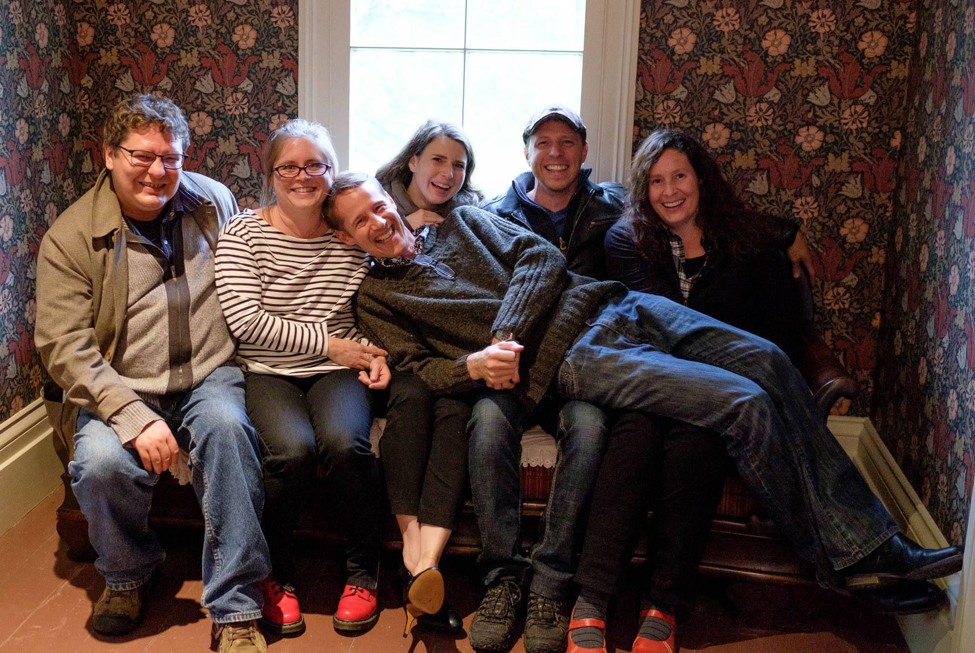 The ilsa team, all smiles at Pauline Johnson's house, chiefswood: Jesse archibald-barber, aubrey hanson, adar charlton, sam mckegney, pauline wakeham, and warren cariou