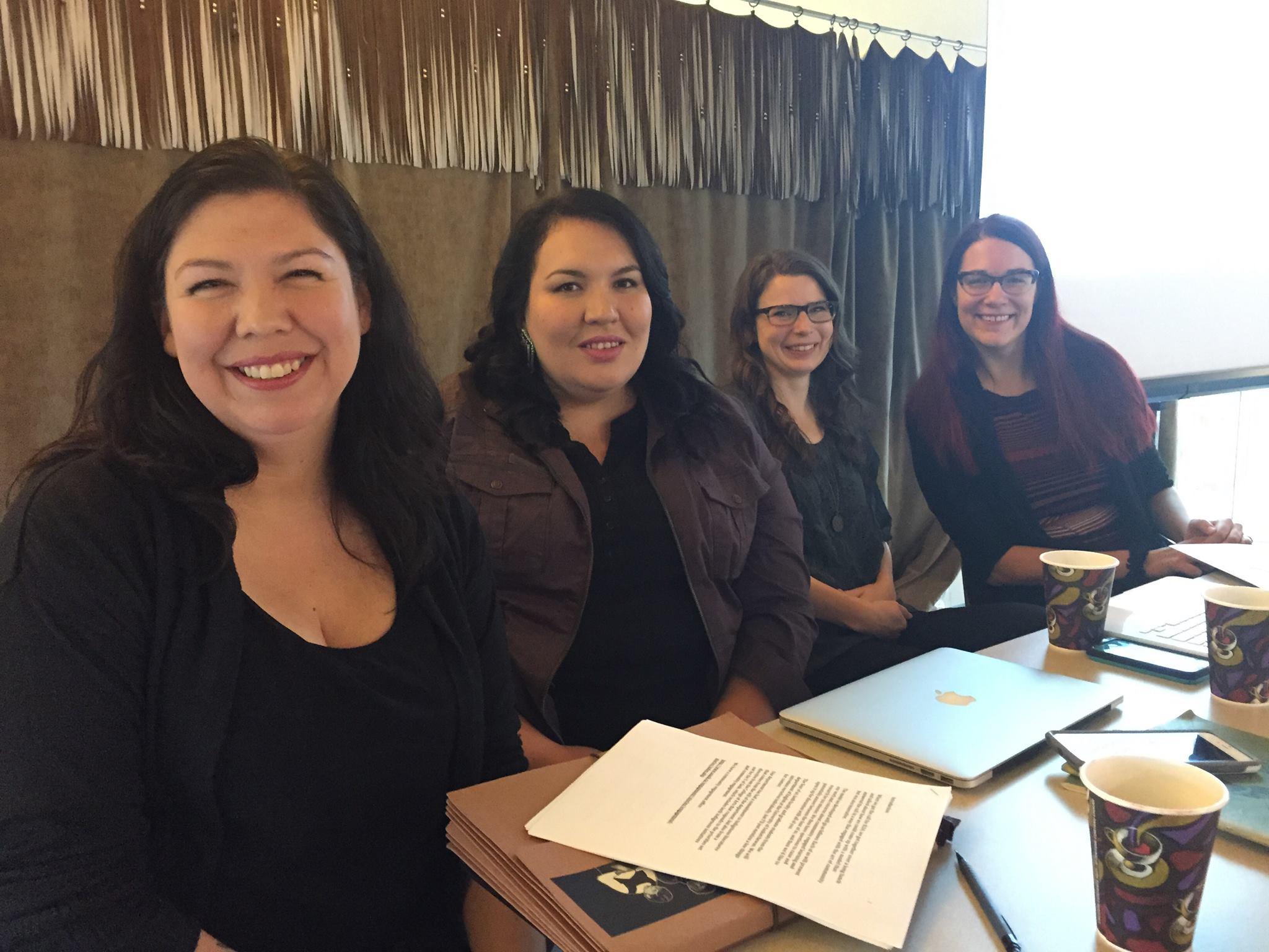 University of Saskatchewan contingent: Tasha Hubbard, Tenille Campbell, ILSA exec Adar Charlton, and Nancy Van Styvendale    photo: tasha hubbard