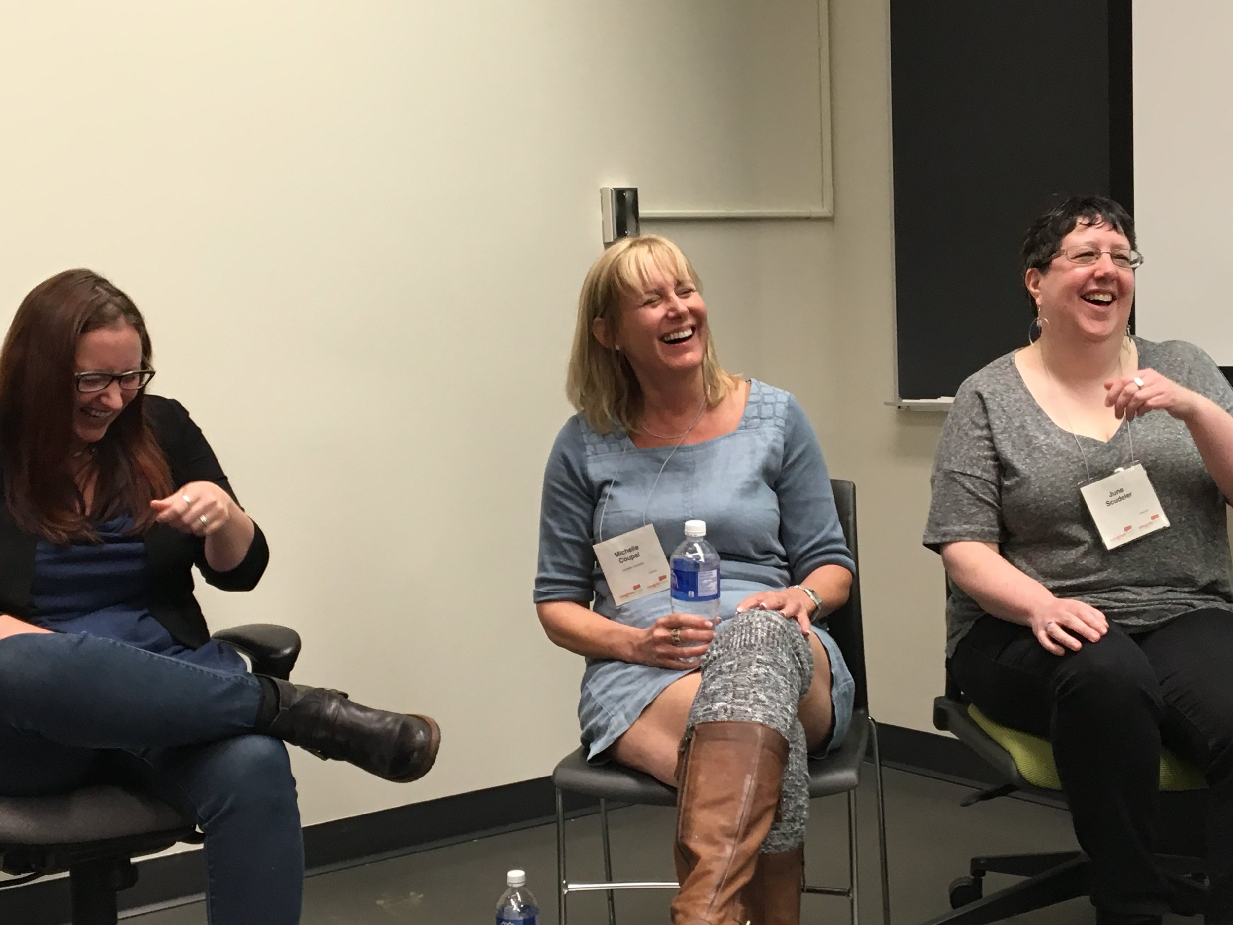 Natalie Knight, Michelle Coupal, and June Scudeler can't stop laughing!