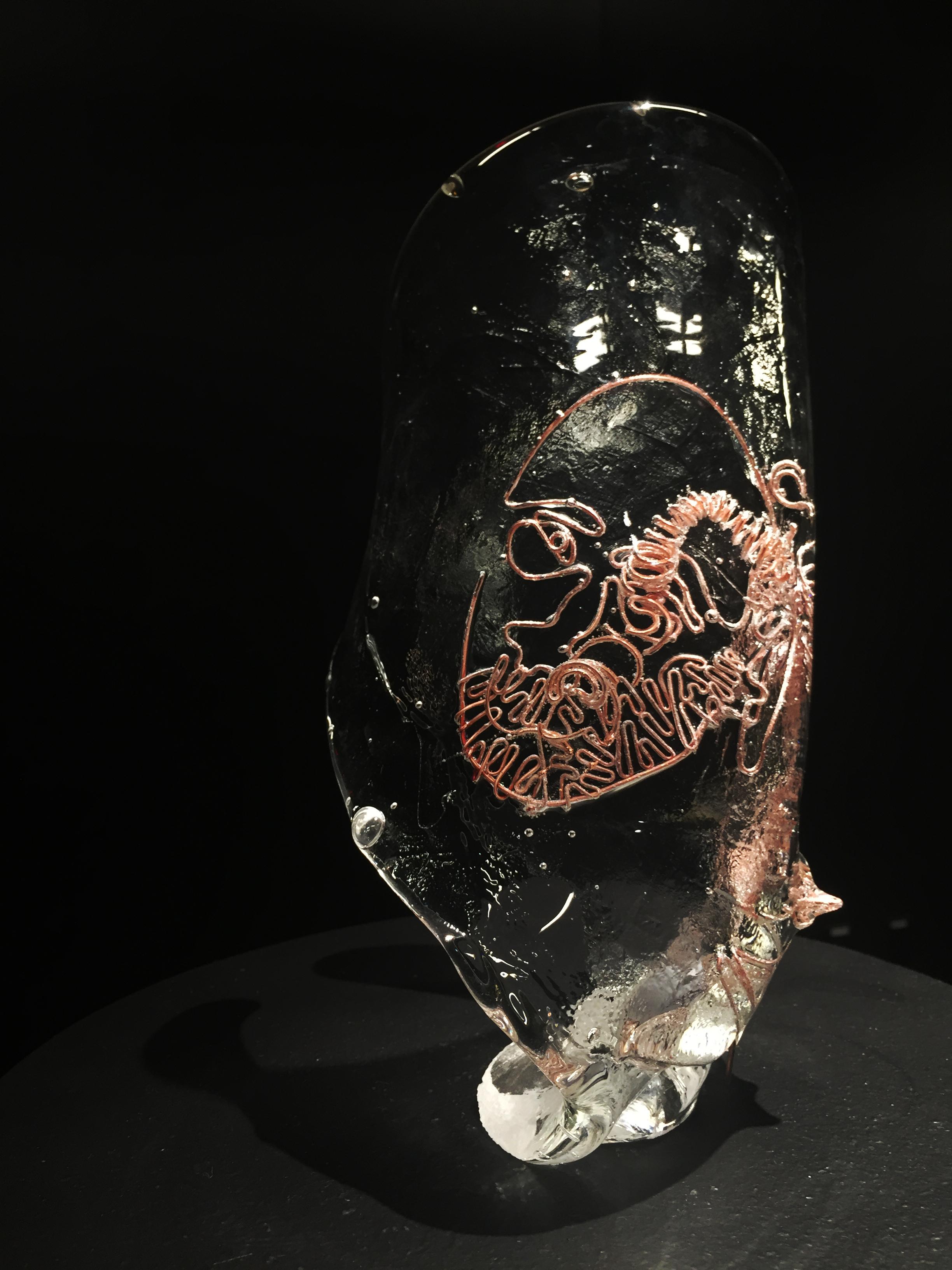 Alan ✤ 2016 ✤ Copper Wire captured in Hot Cast Glass ✤ 10 x 5.5 x 4 in 25.5 x 14 x 10 cm