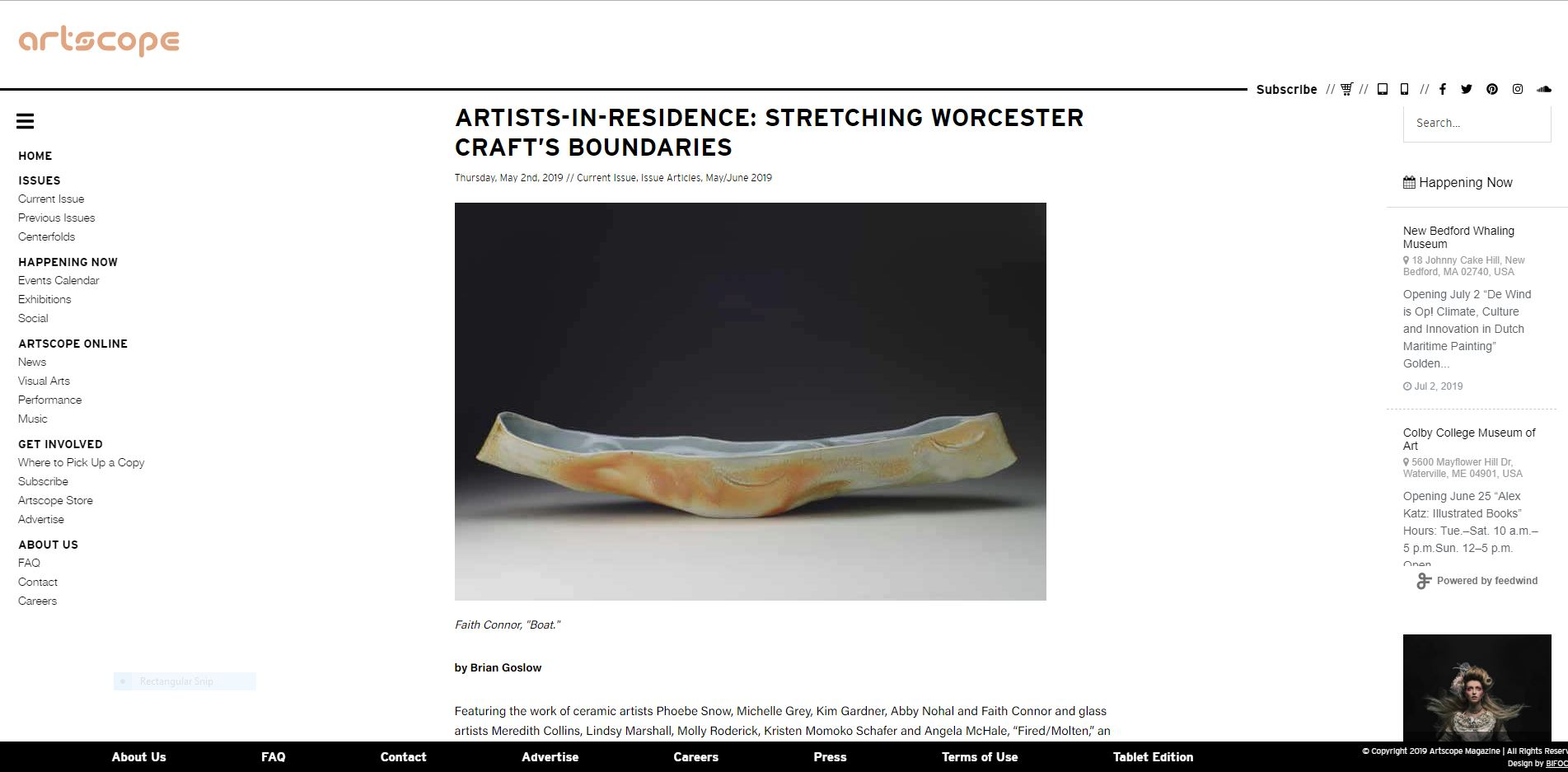 Artscope Magazine   May 2nd 2019 - Artists-in-Residence: Stretching Worcester Craft's Boundaries, May/June 2019 Issue