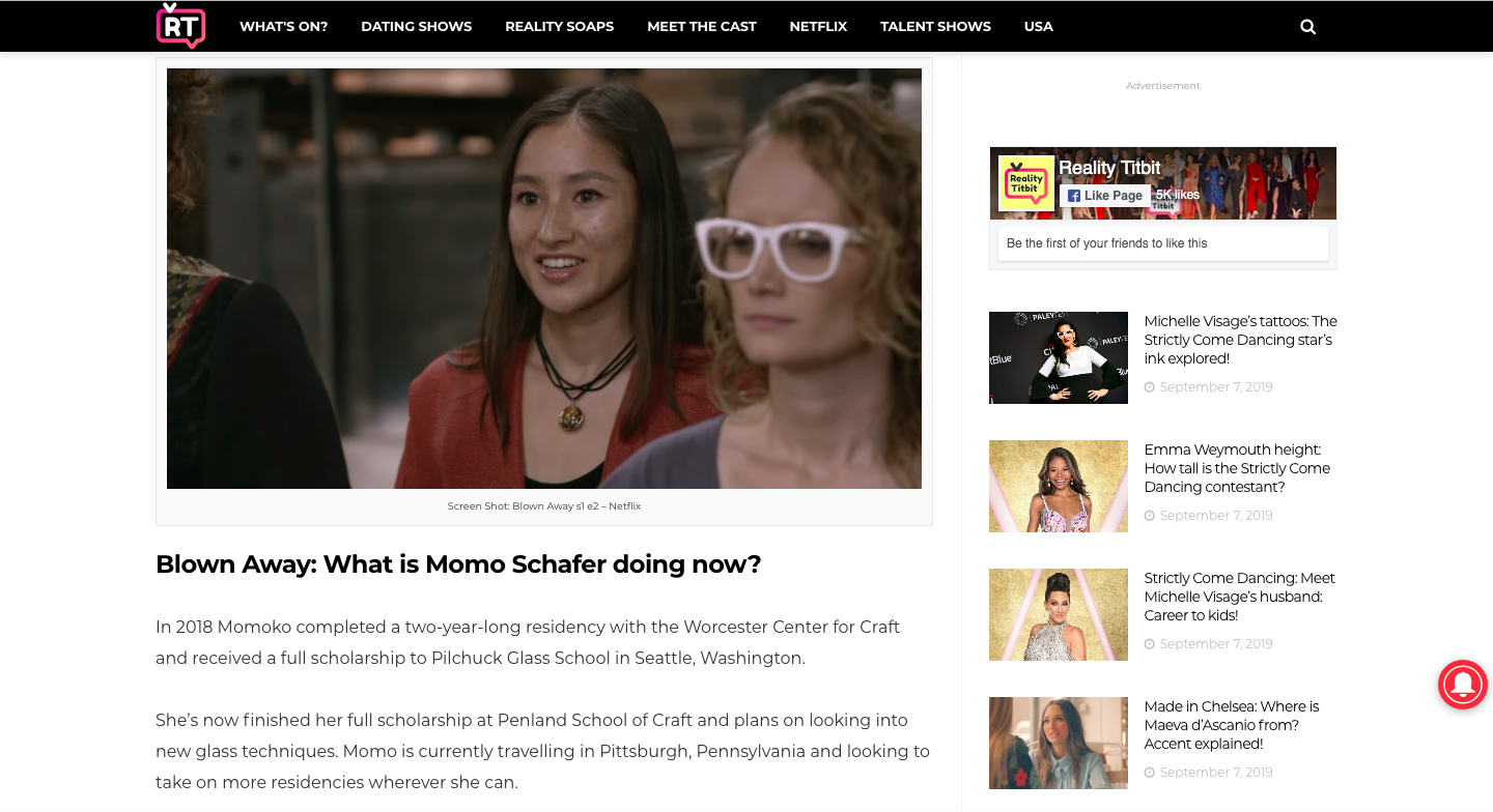 """Reality Titbit   July 23rd 2019 - Blown Away star Momo says Netflix judges """"didn't get"""" her glass blowing concepts"""