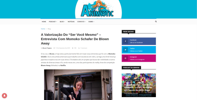 """A Valorização Do """"Ser Você Mesmo""""   Sept 11th 2019 - Entrevista Com Momoko Schafer De Blown Away"""