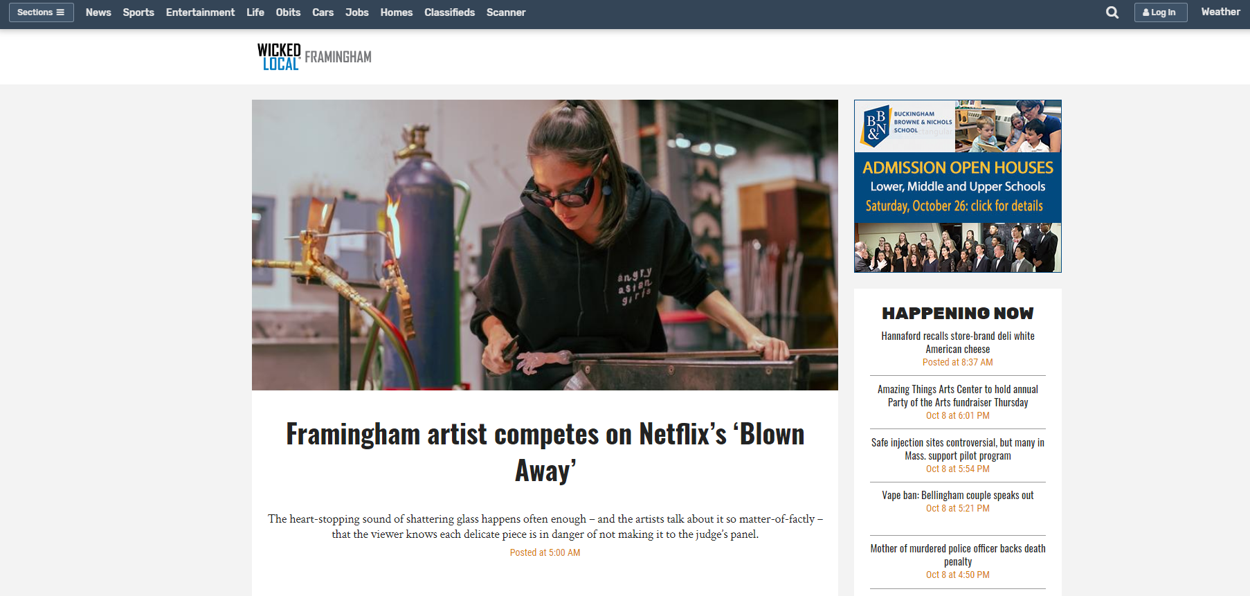 The MetroWest Daily News   Oct 9th 2019 - Framingham artist competes on Netflix's 'Blown Away'