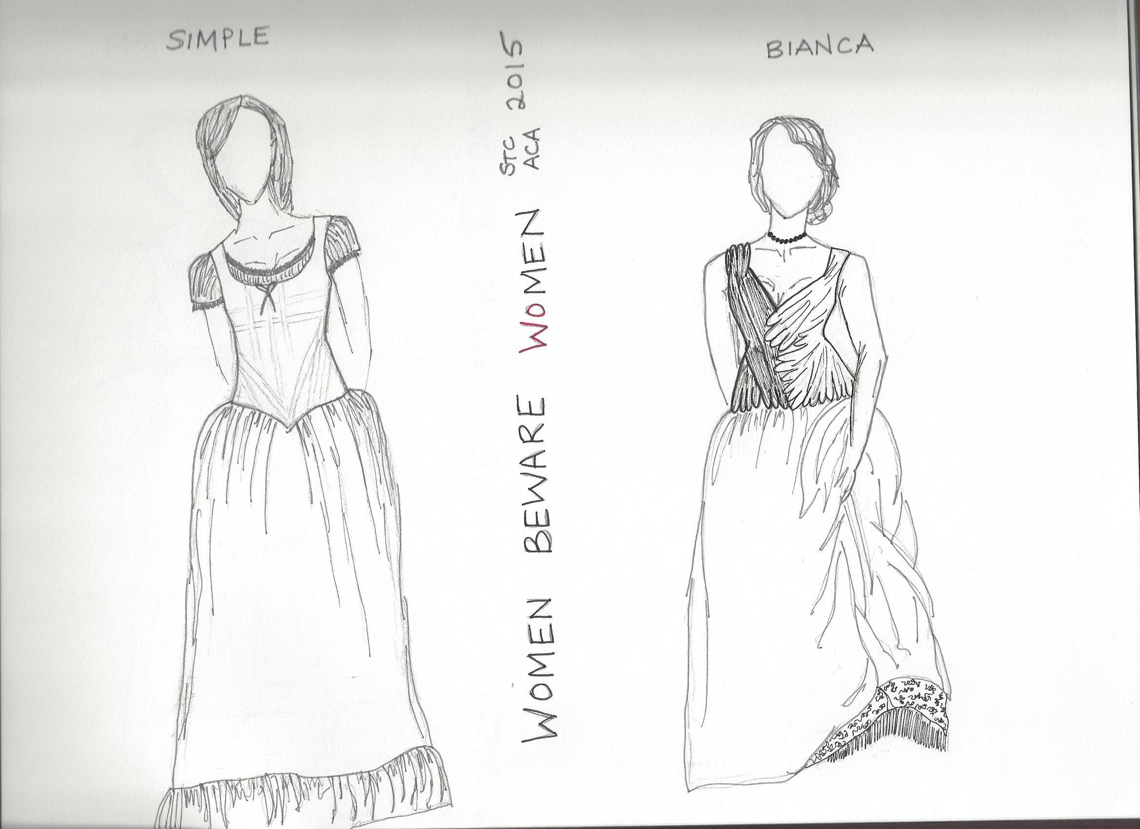 B&W Sketches - Simple and Bianca's Final Look    Women Beware Women    Directed by Lisa Wolpe With Eleanor Holdridge The Shakespeare Theatre's Academy for Classical Acting with GWU June 2015