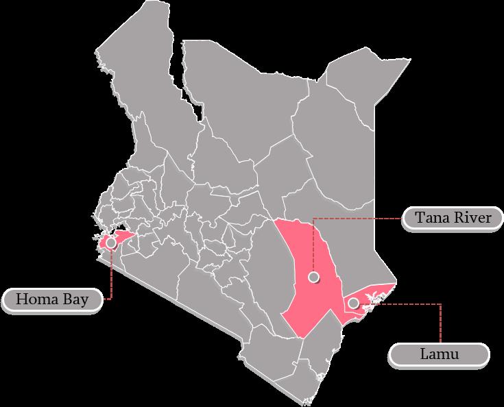 Map of Kenya with Homa Bay, Lamu, and Tana River counties highlighted.