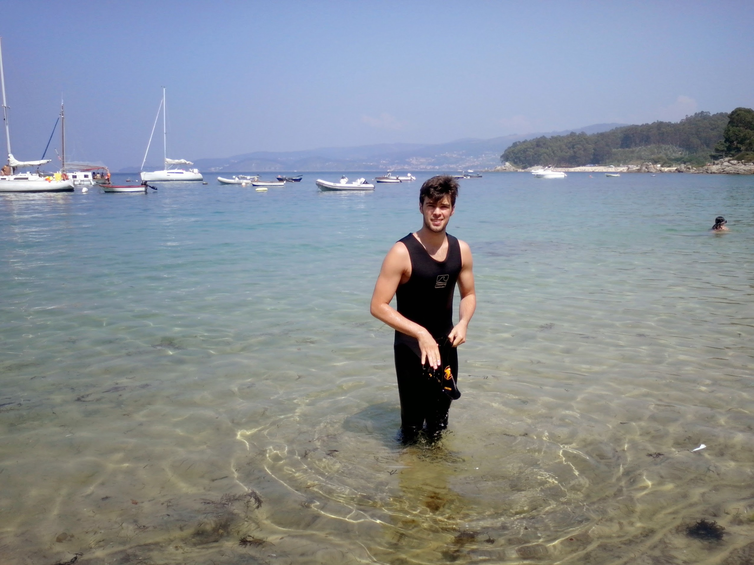 His natural habitat. The waters of Galicia