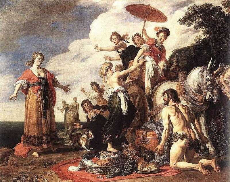 Odysseus before Nausicaa. A 1619 painting by Pieter Lastman