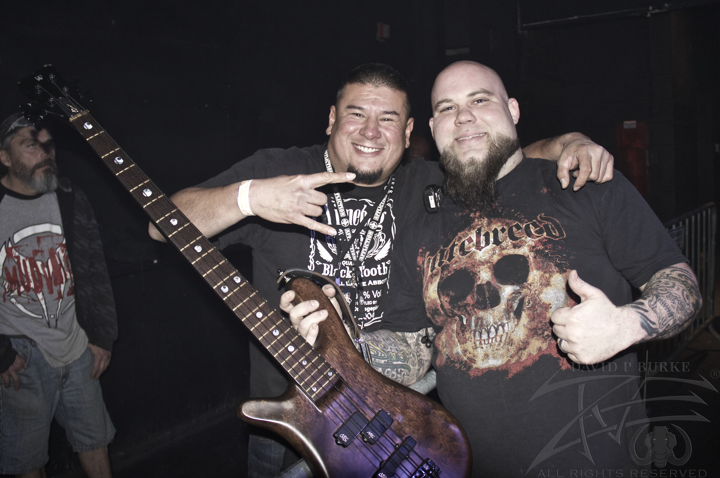 Joseph with Hellyeah's bass tech  photo: David Burke