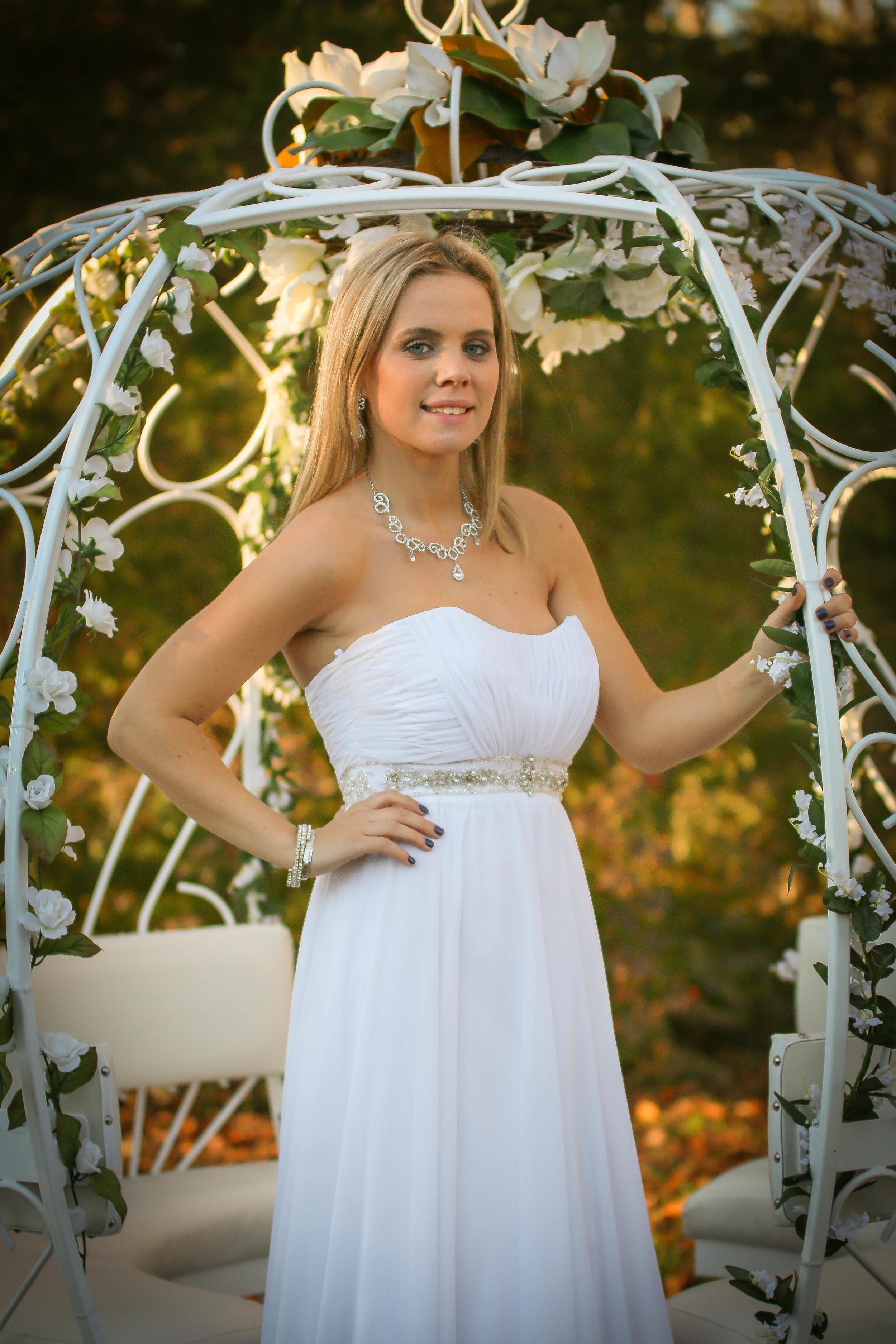 """Elizabeth wearing wedding gown style """"Louise"""""""