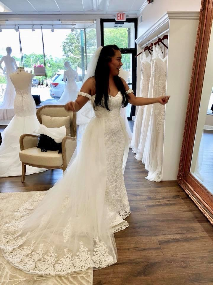"""- """"Aida was amazing! I loved how my dress came out, she incorporated all of the ideas I had and the turn out was great! She was exceptionally professional during every fitting, and always made sure I was loving every minute of my experience. I would definitely recommend Rosi's bridal studio for all your bridal needs!"""" - Jessica"""